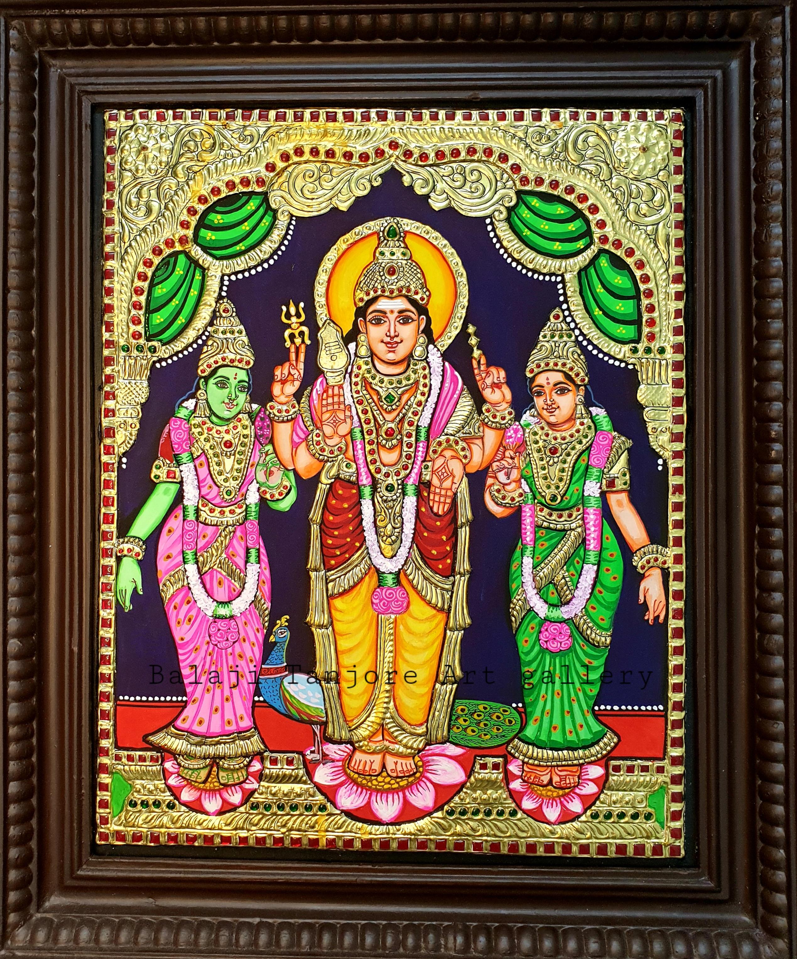 valli deivanai murugan semi embossing tanjore painting