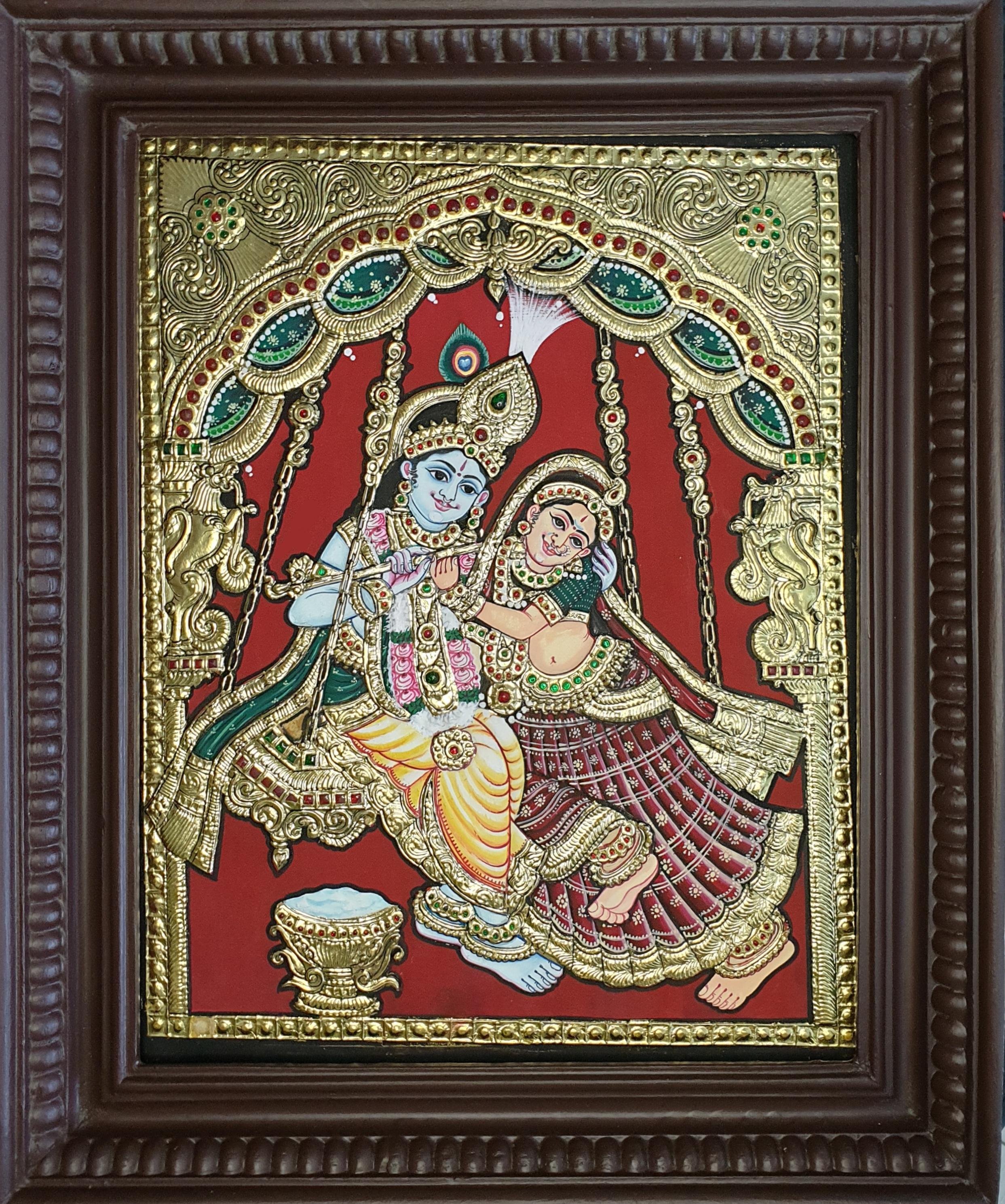 Unjal radhakrishna tanjore painting