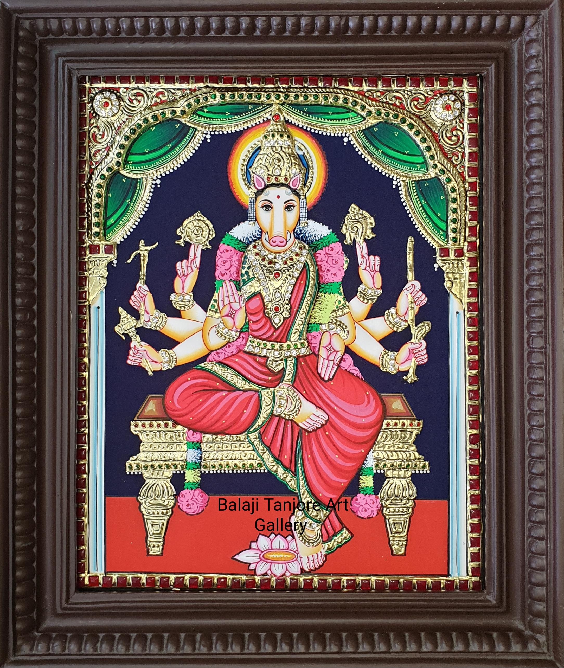 Varahi amman semi embossing tanjore painting