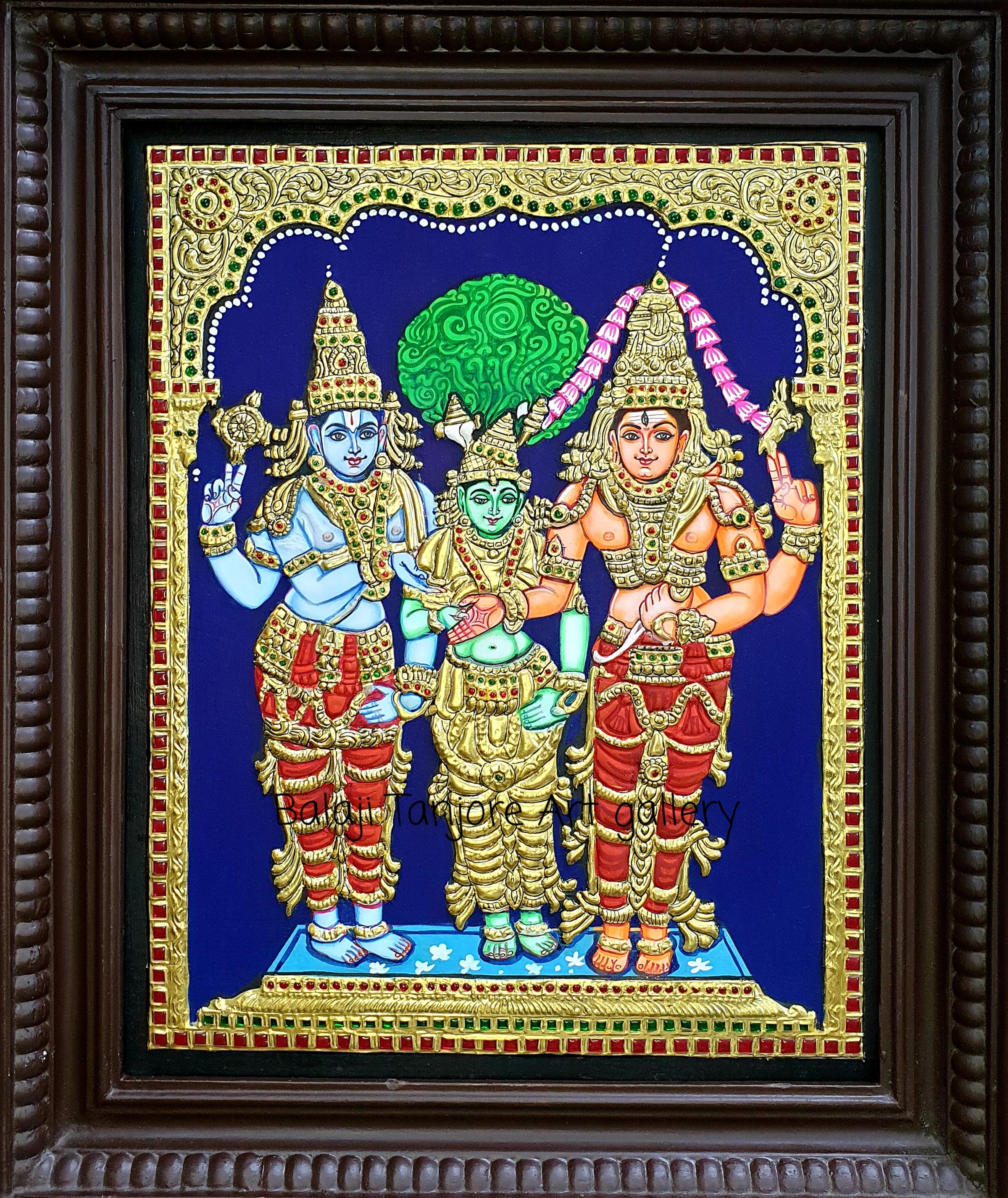 raja rajeshwari semi embossing tanjore painting