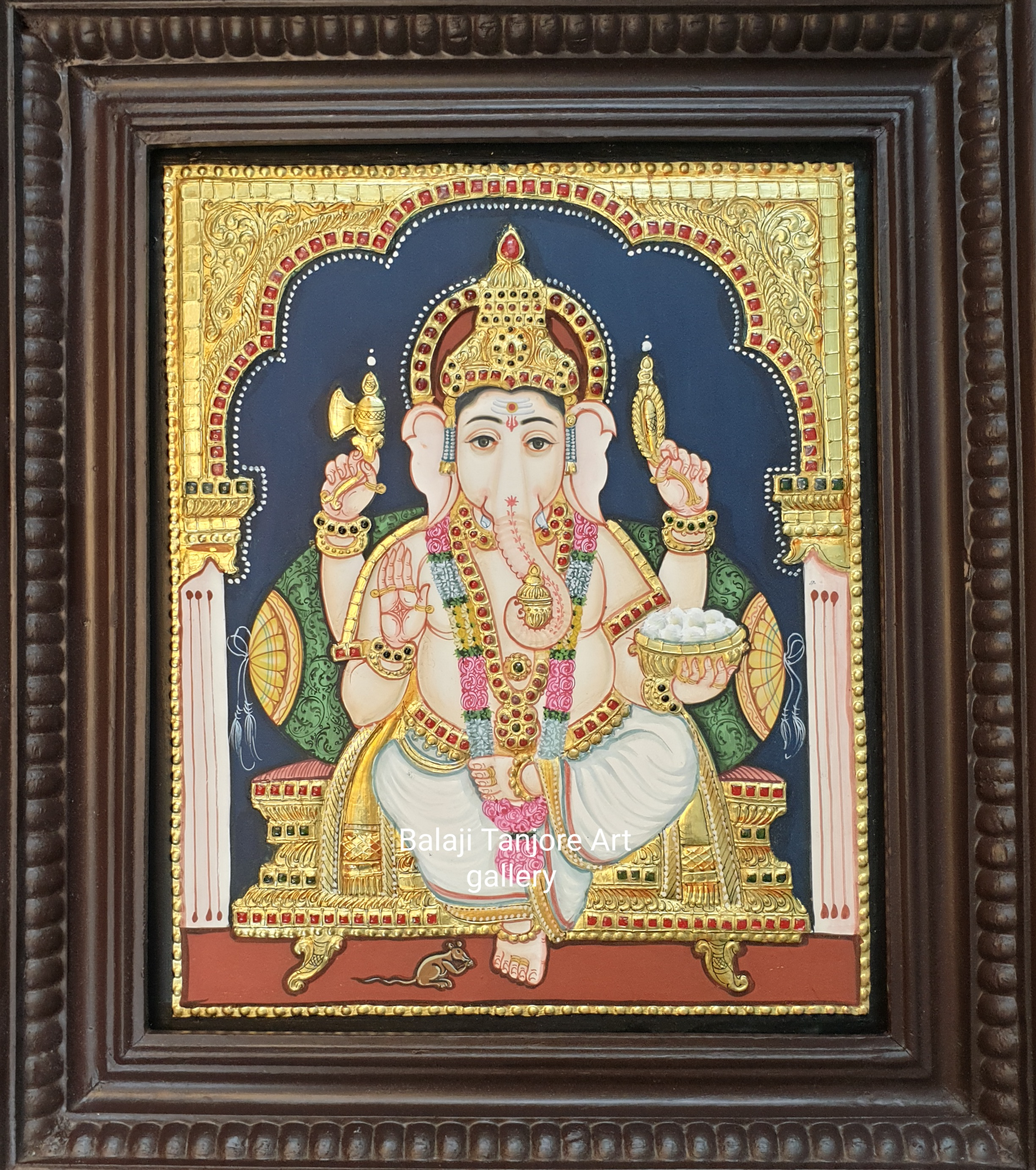 ganesha antique style tanjore painting