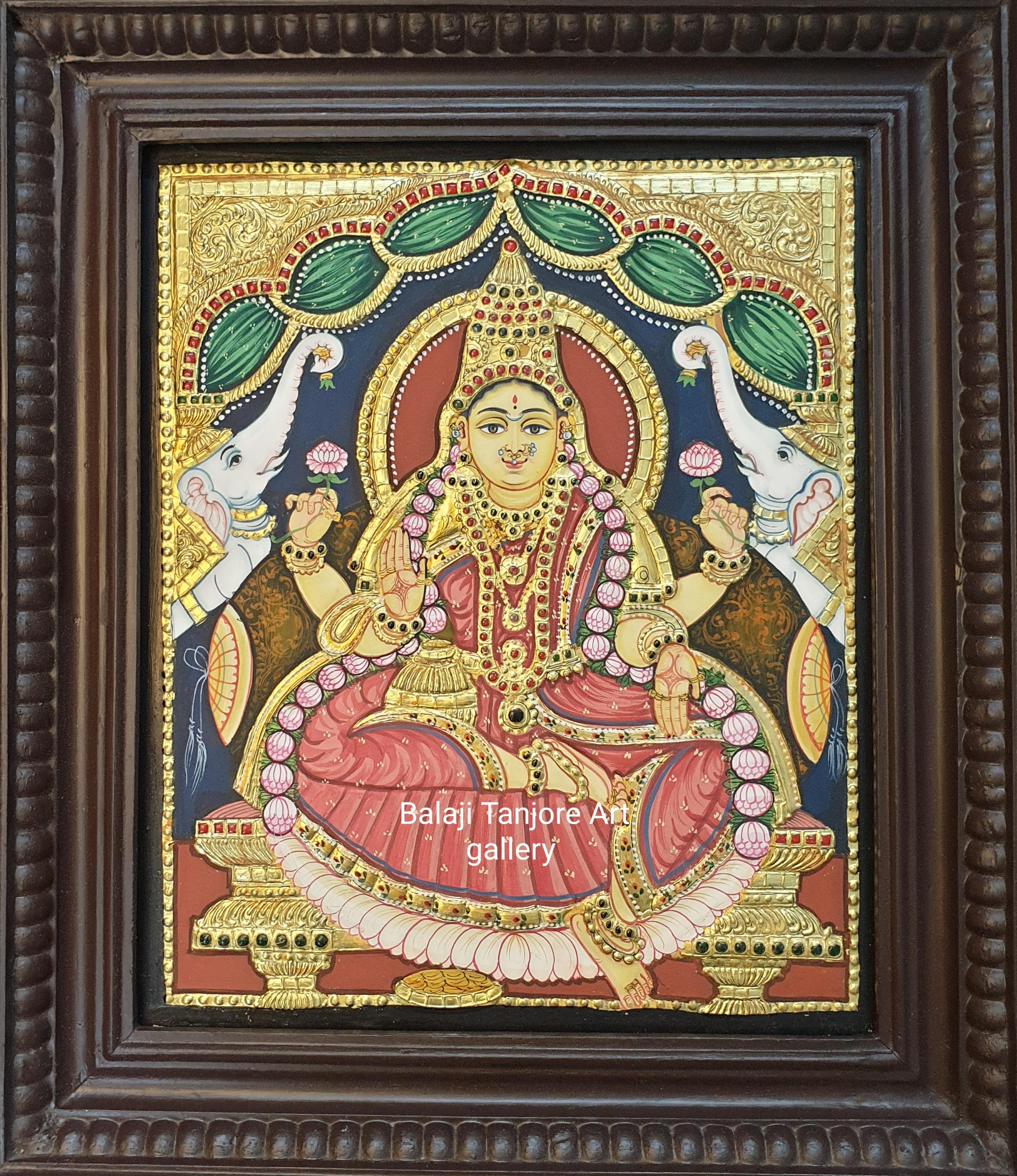gaja lakshmi antique style tanjore painting