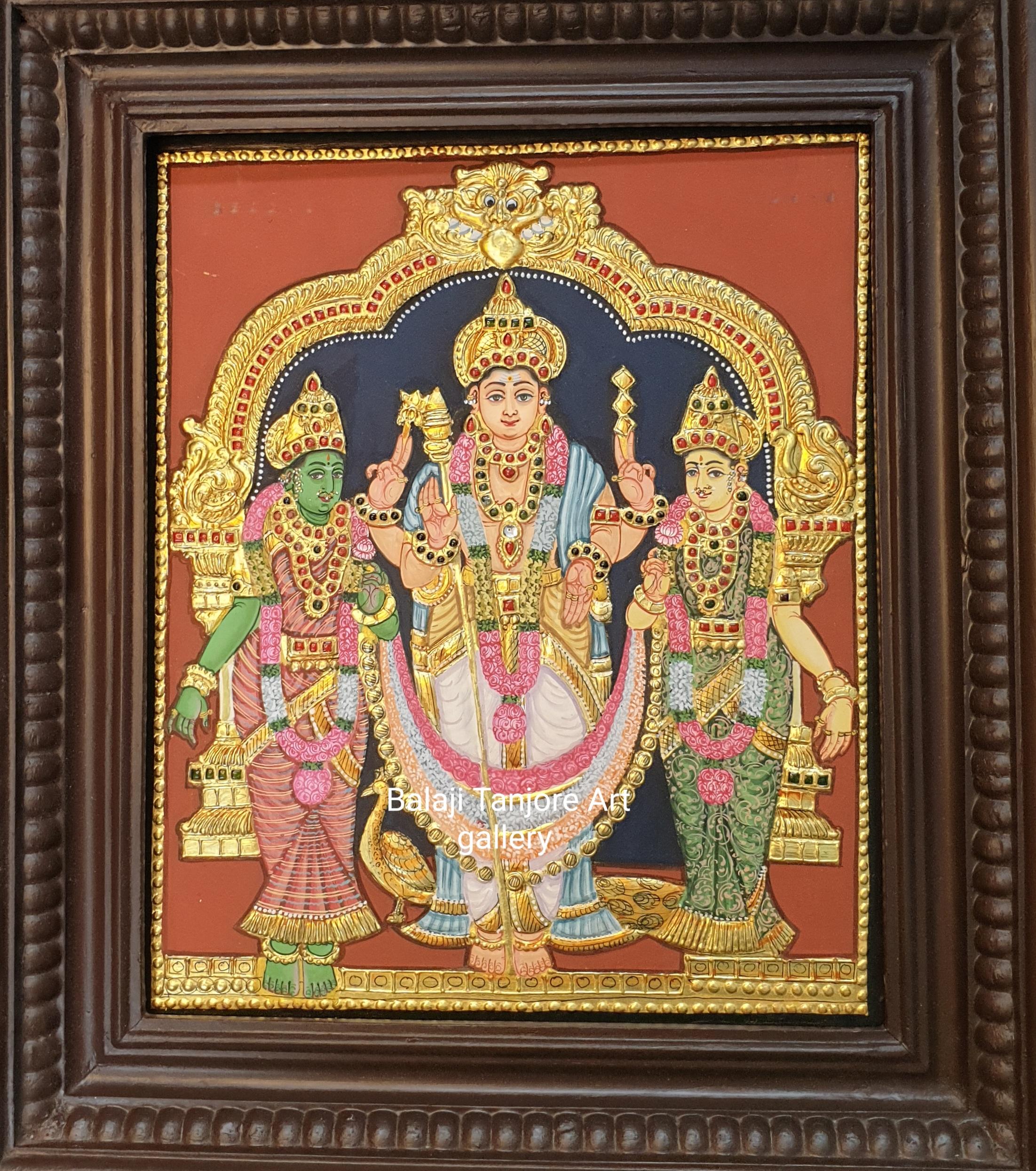 valli dhevanai murugan antique style tanjore painting