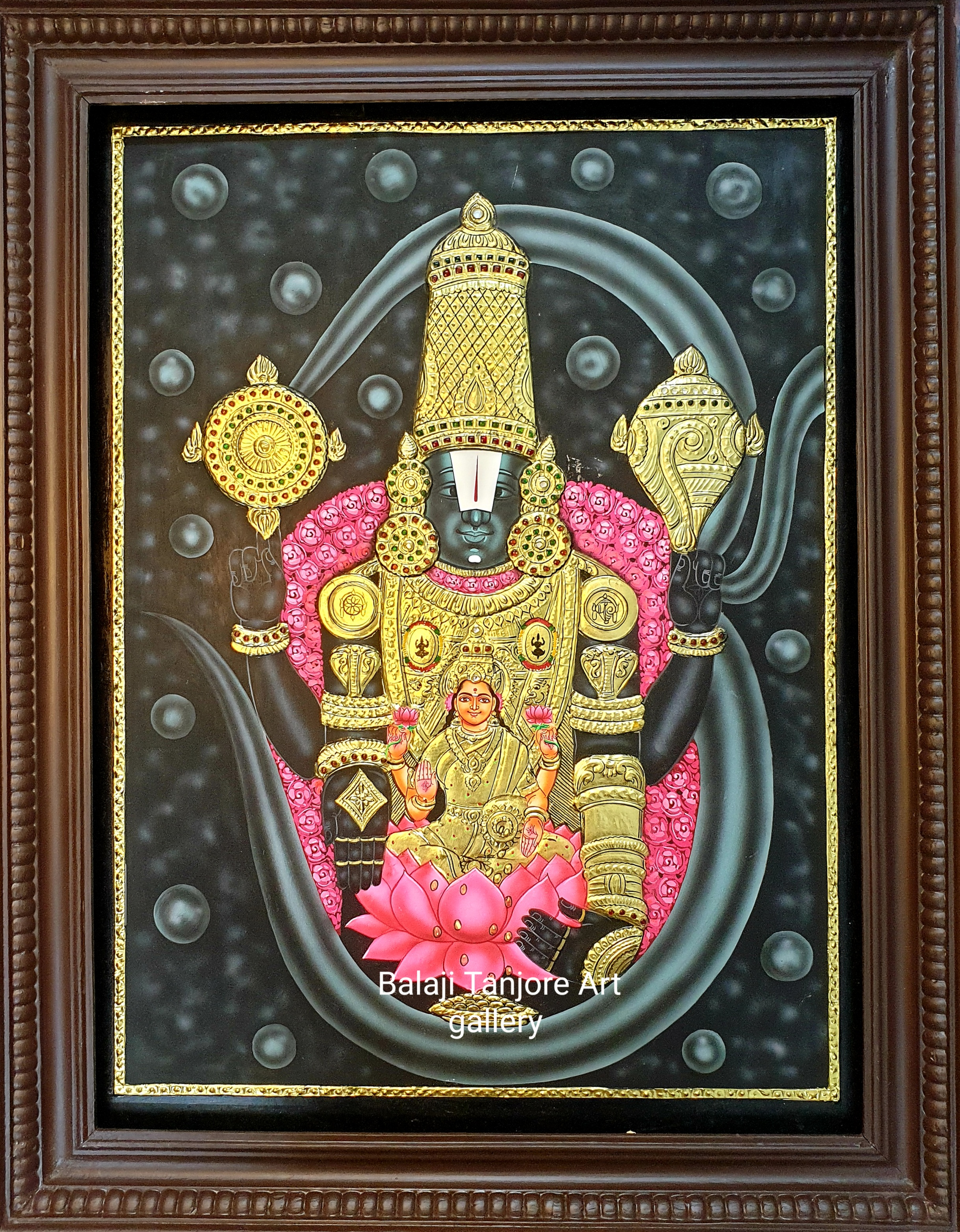 balaji with lakshmi & padmavathi tanjore painting