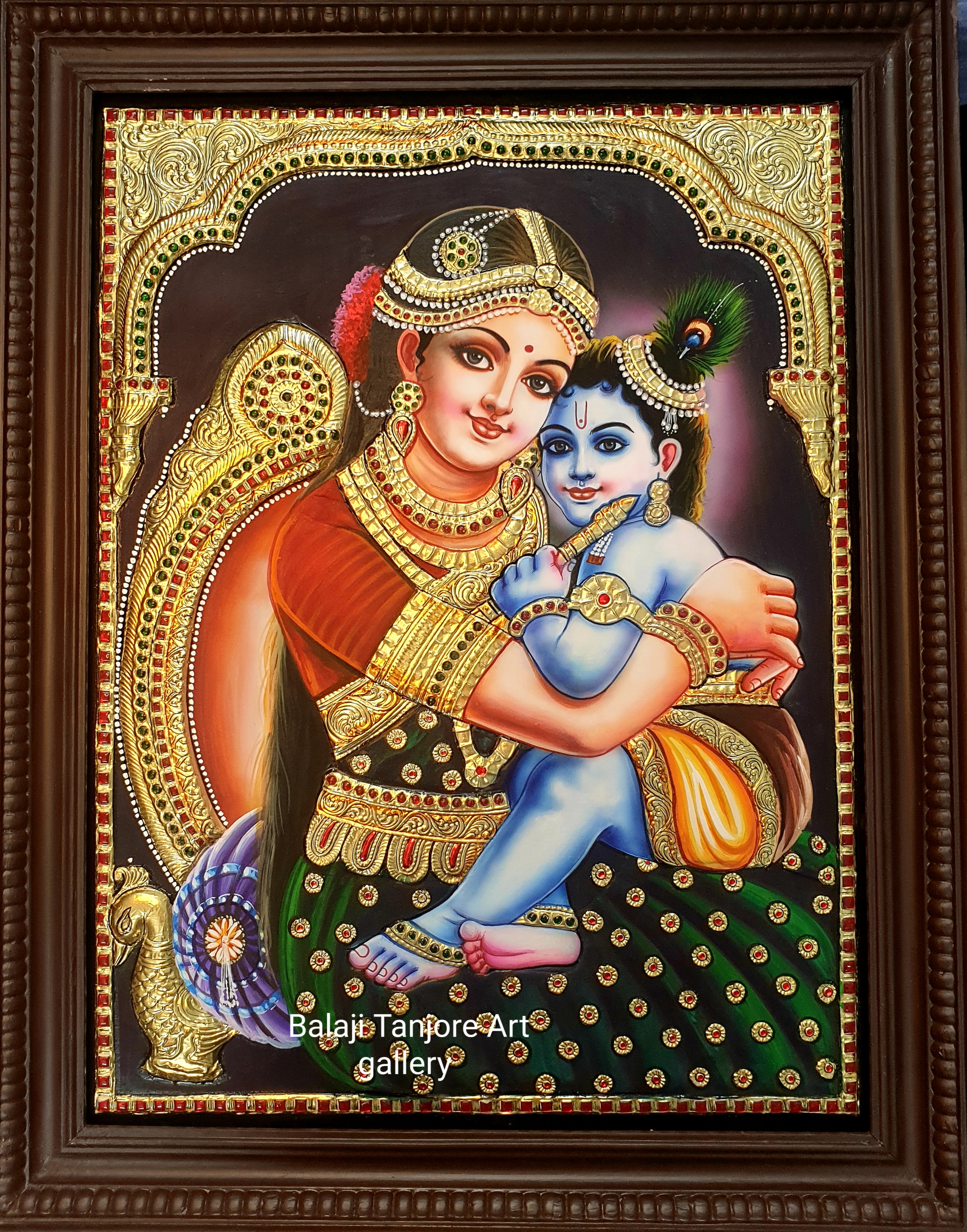 yasodha krishna semi embossing tanjore painting