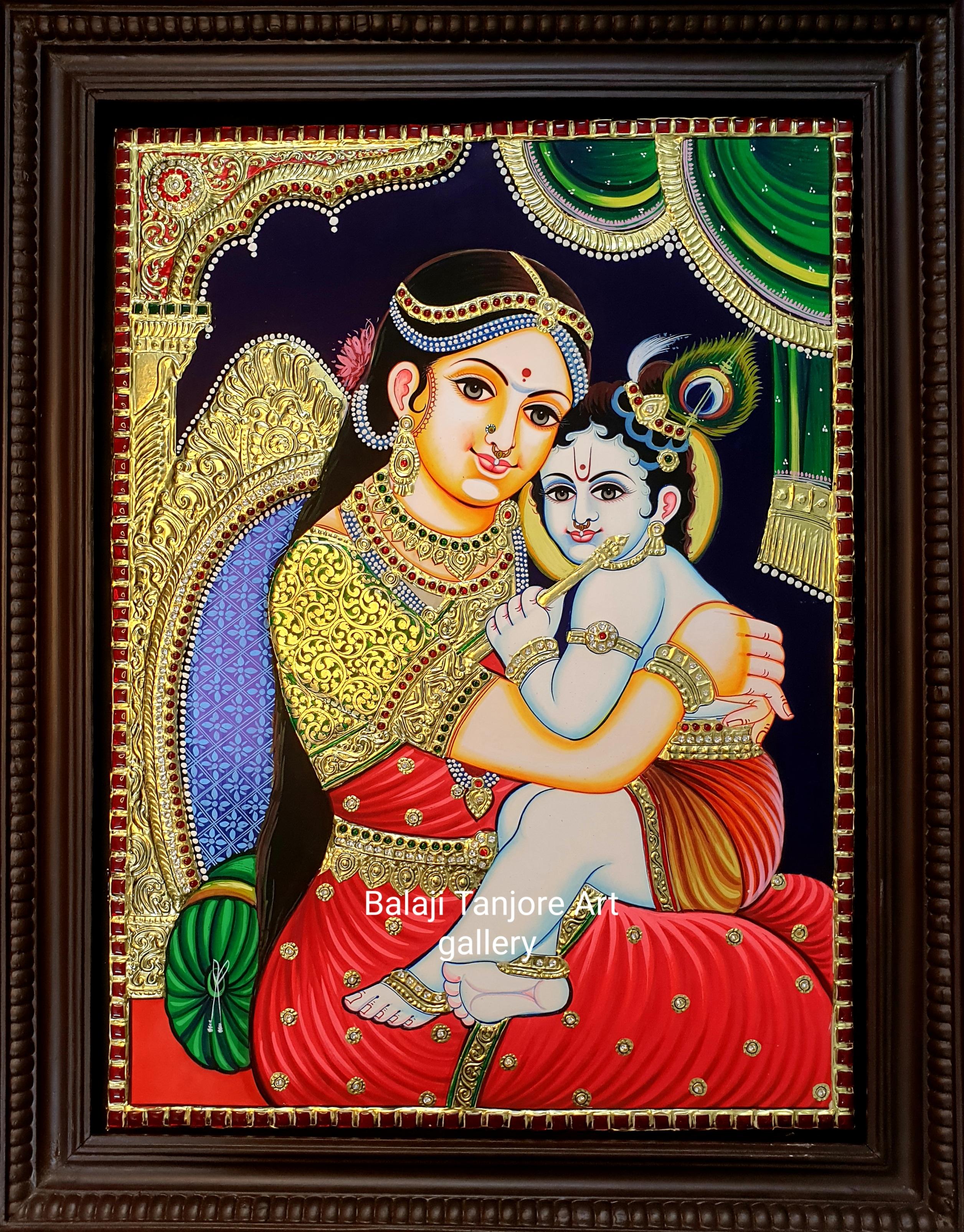 butter krishna semi embossing tanjore painting