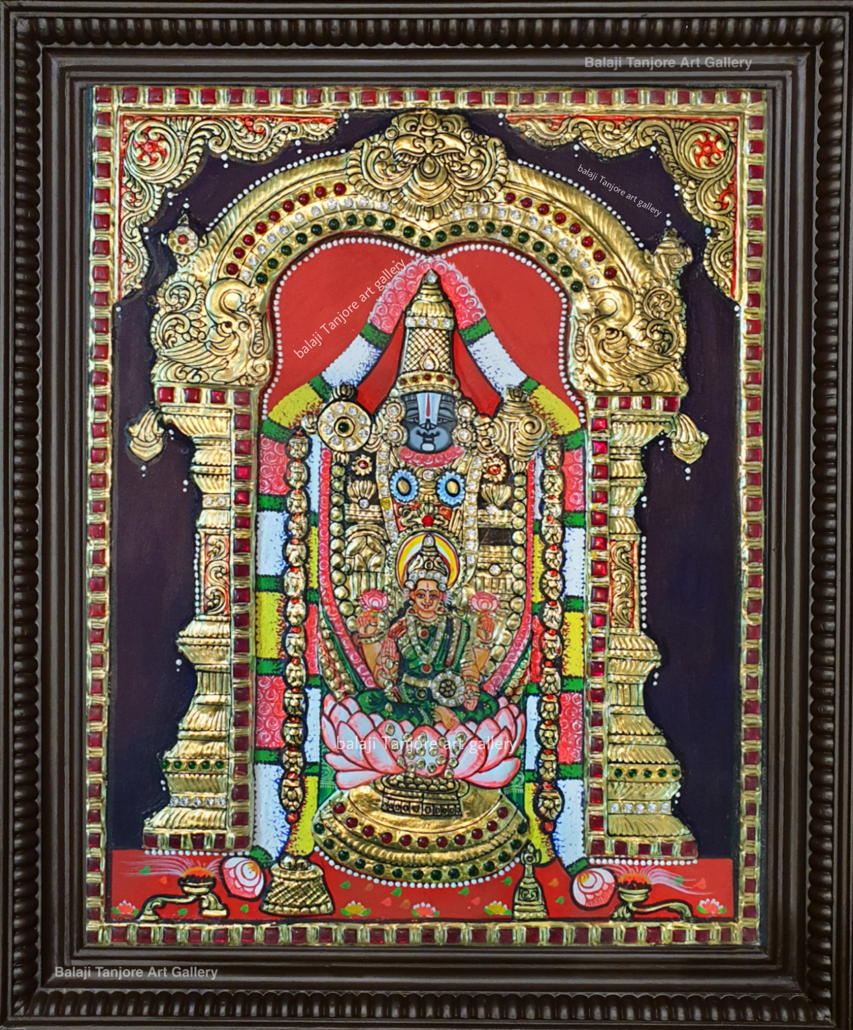 Lakshmi with Balaji semi embossing Tanjore Paintings