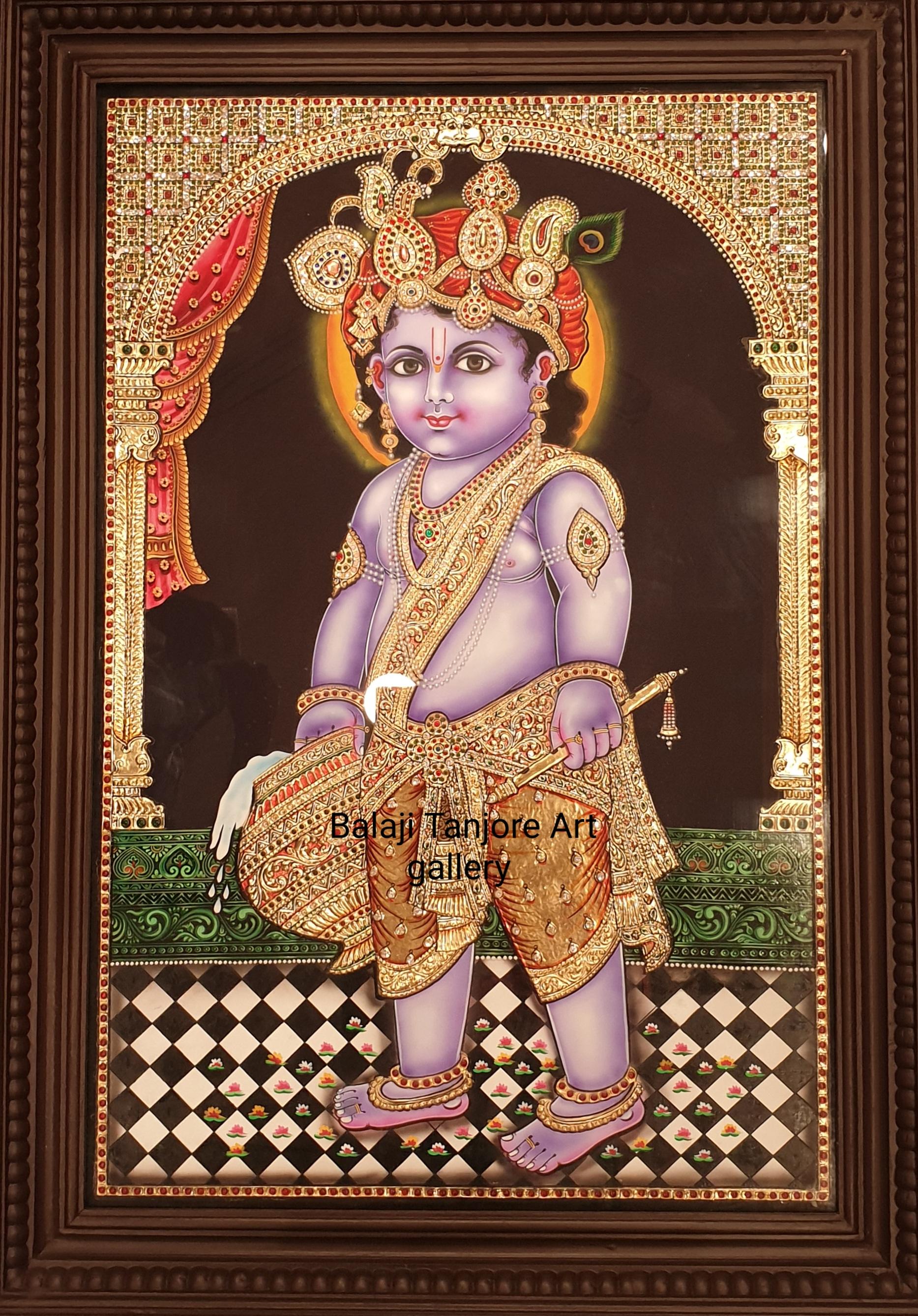 standing krishna tanjore painting