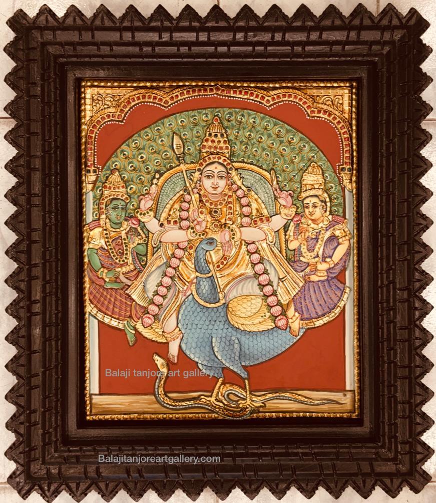 valli deivanai murugan antique styl tanjore painting