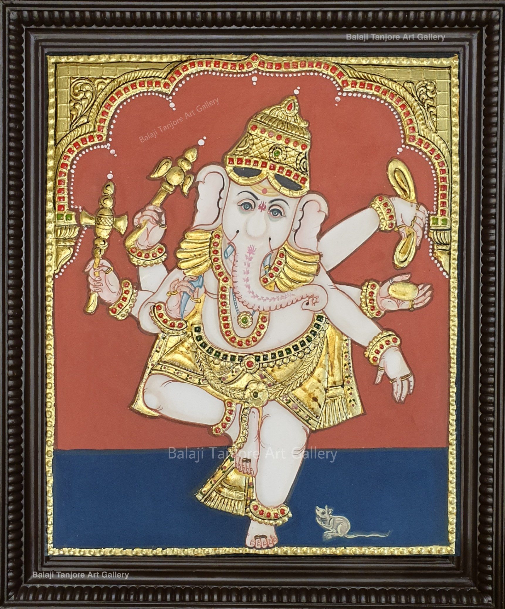 dancing ganesha antique style tanjore painting
