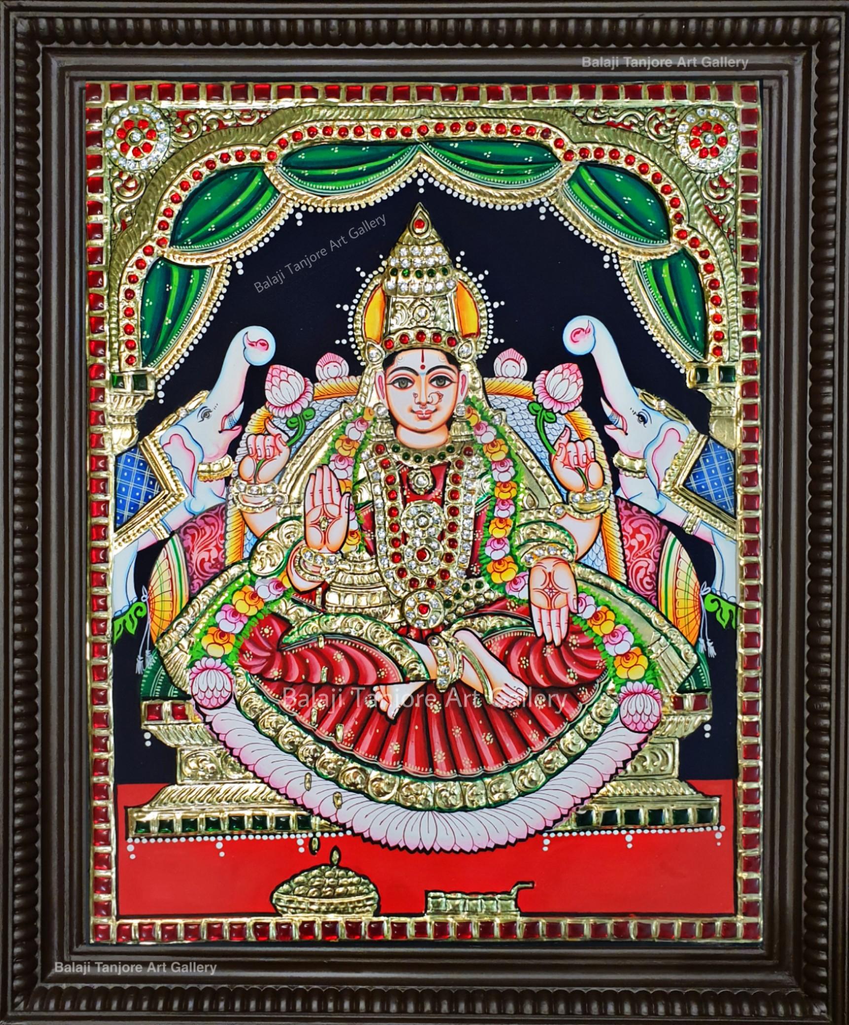 gajalakshmi semi embossing tanjore painting