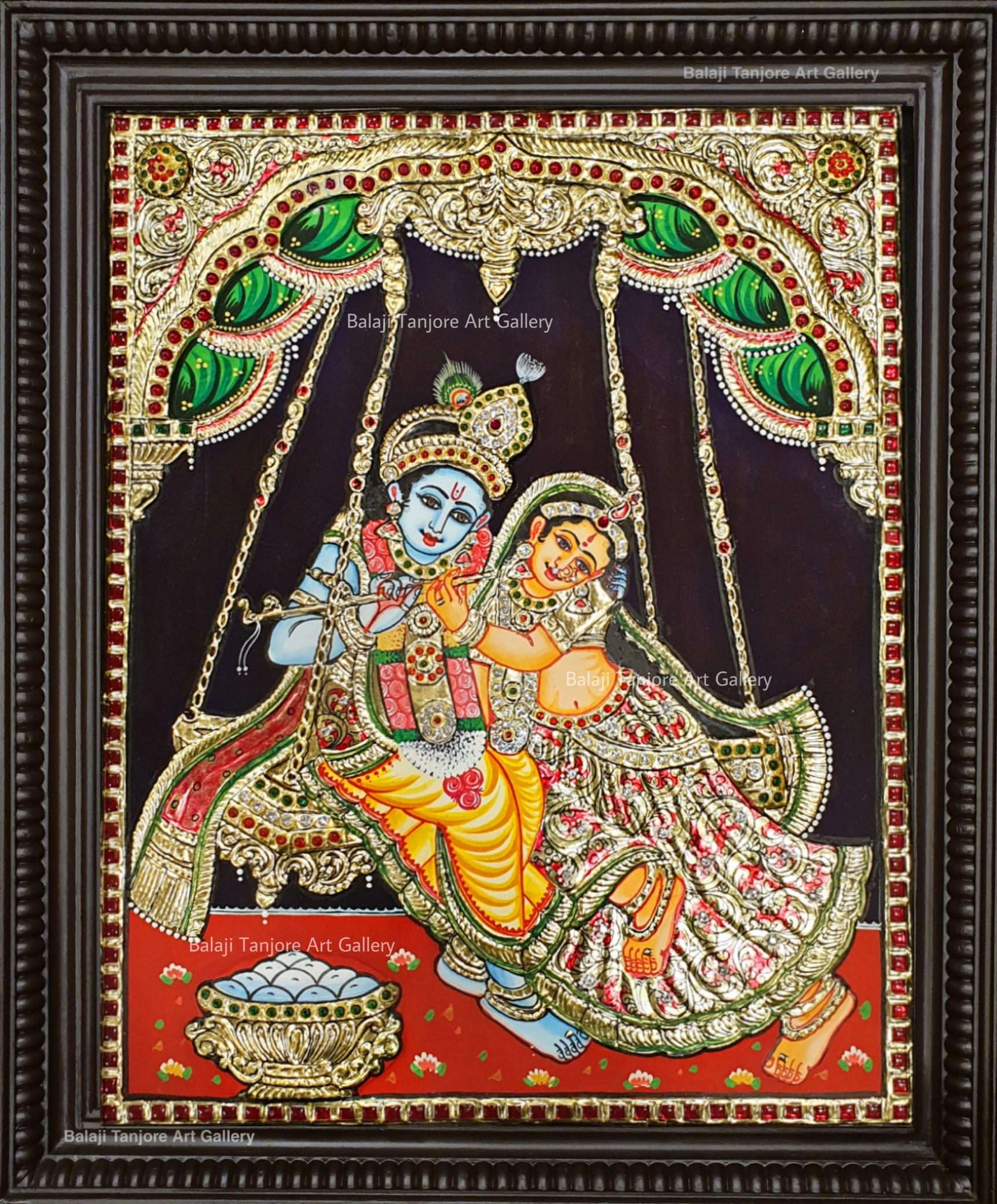 radha krishna grand tanjore painting