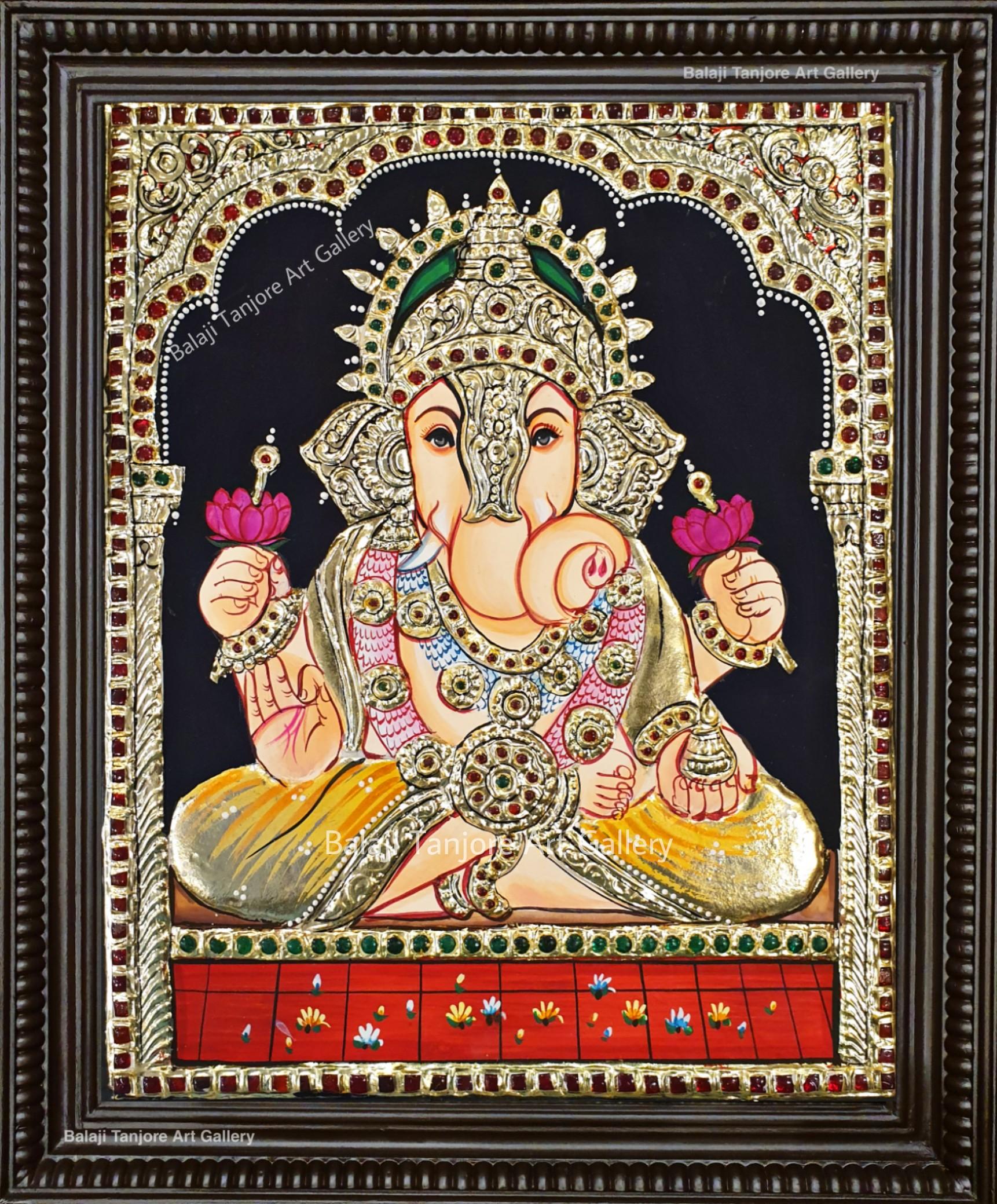 Dagaduseth Ganesha tanjore painting