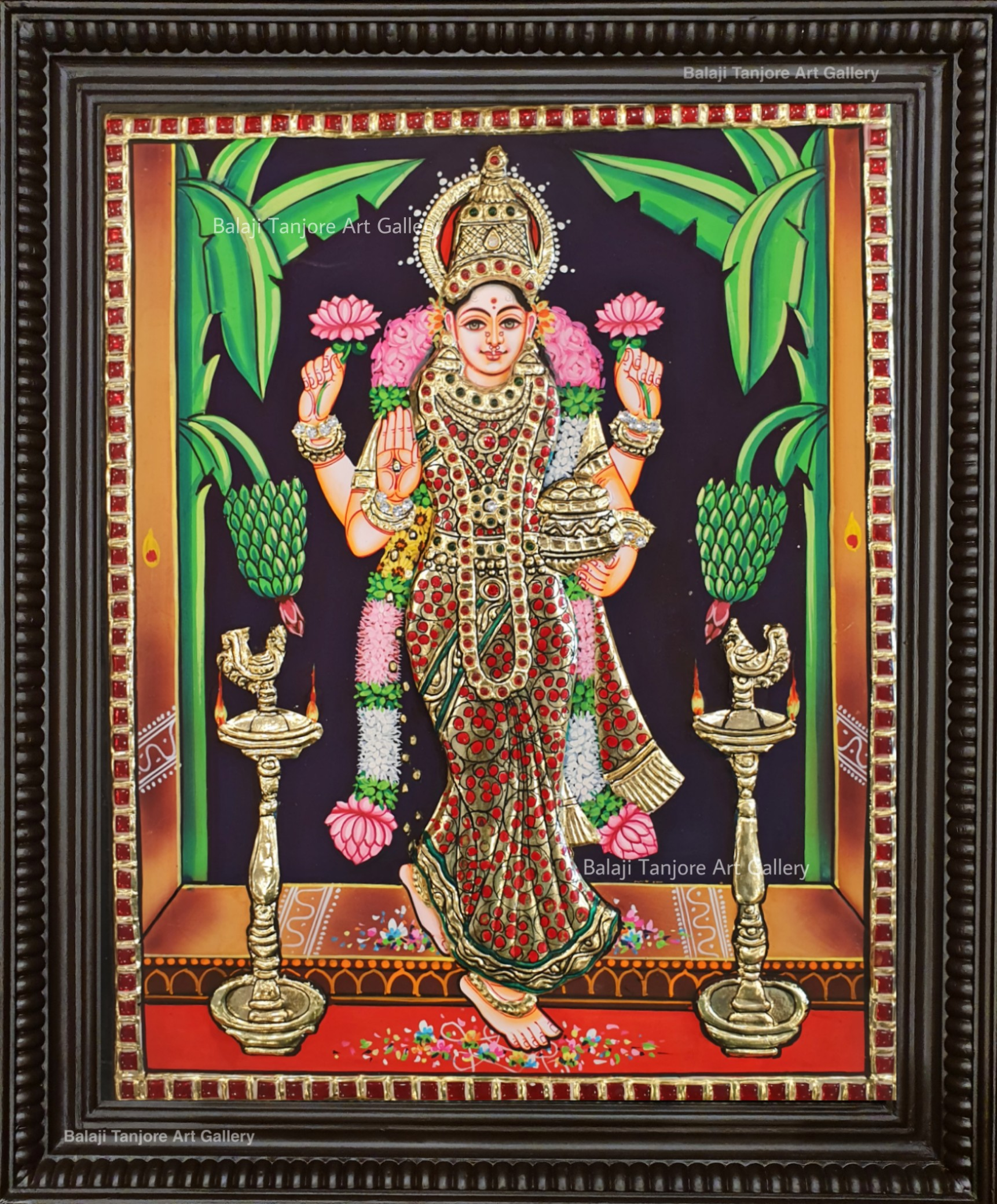 graha lakshmi semi embossing tanjore painting