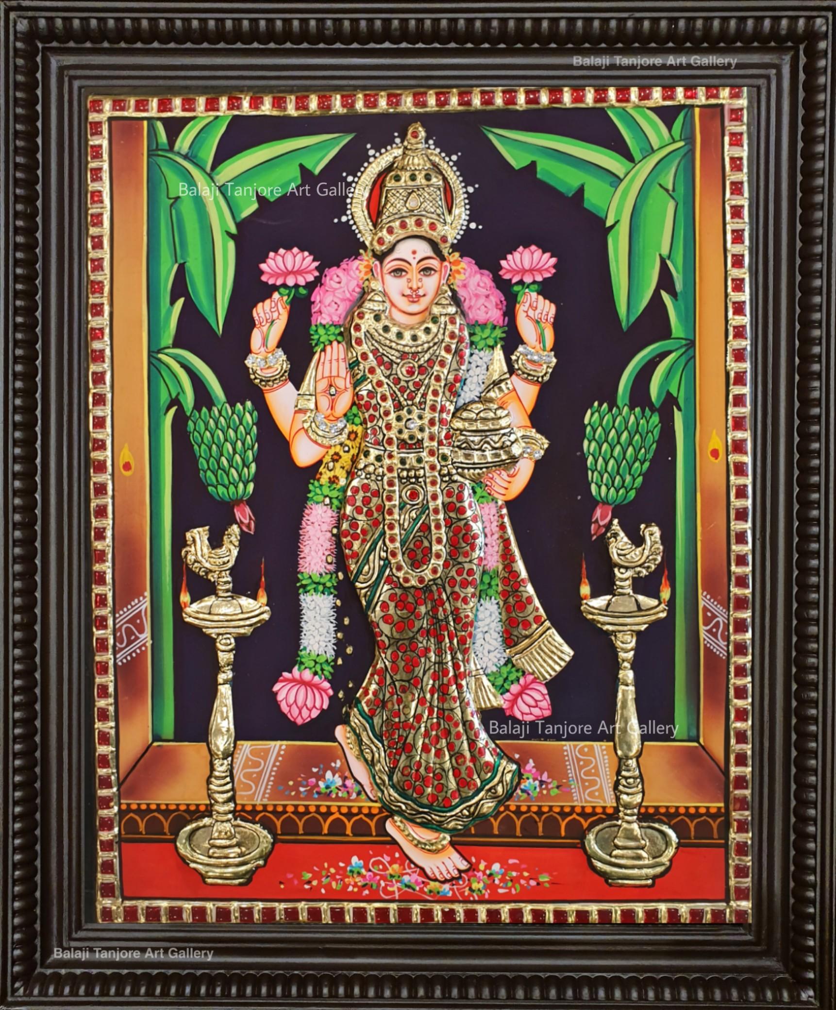Graga Lakshmi semi embossing tanjore painting