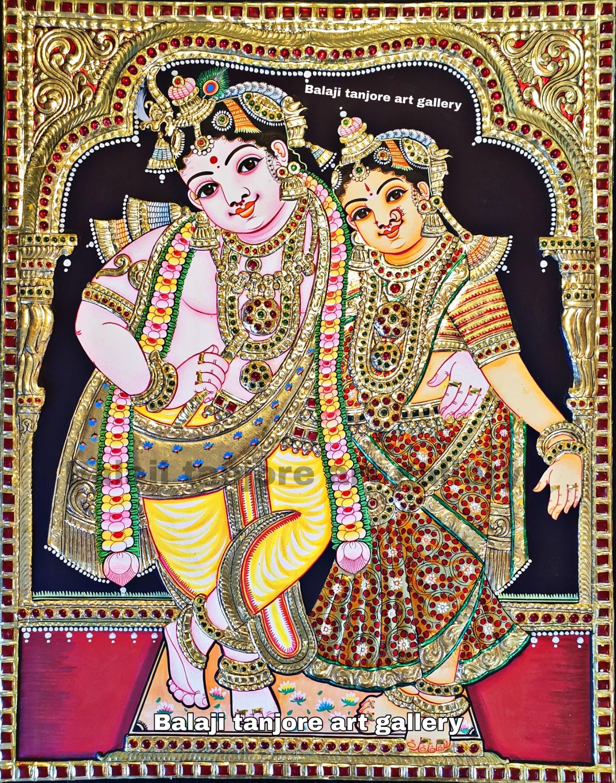 RadhaKrishna semi embossing Tanjore painting
