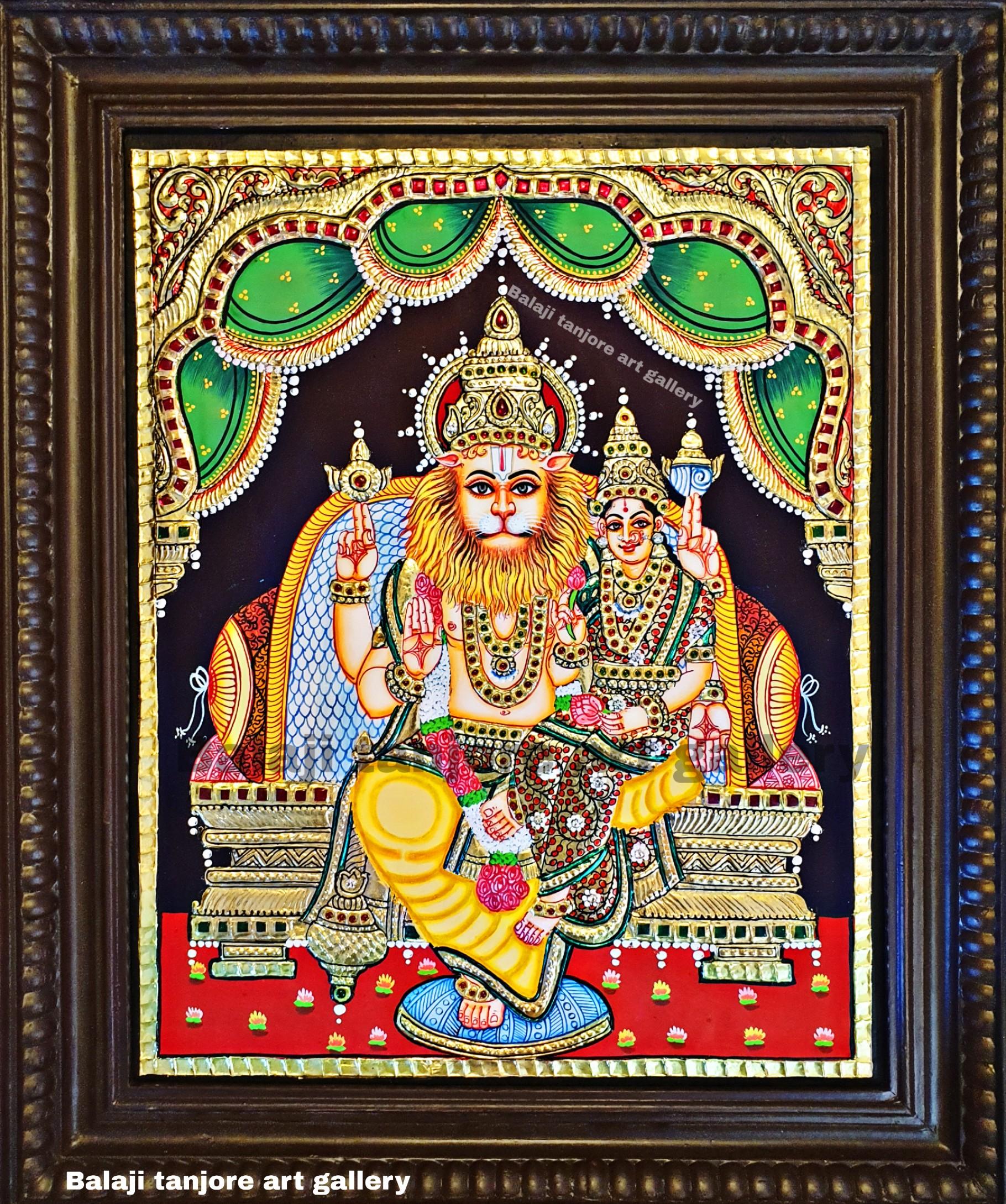lakshmi narasimha semi embossing tanjore painting