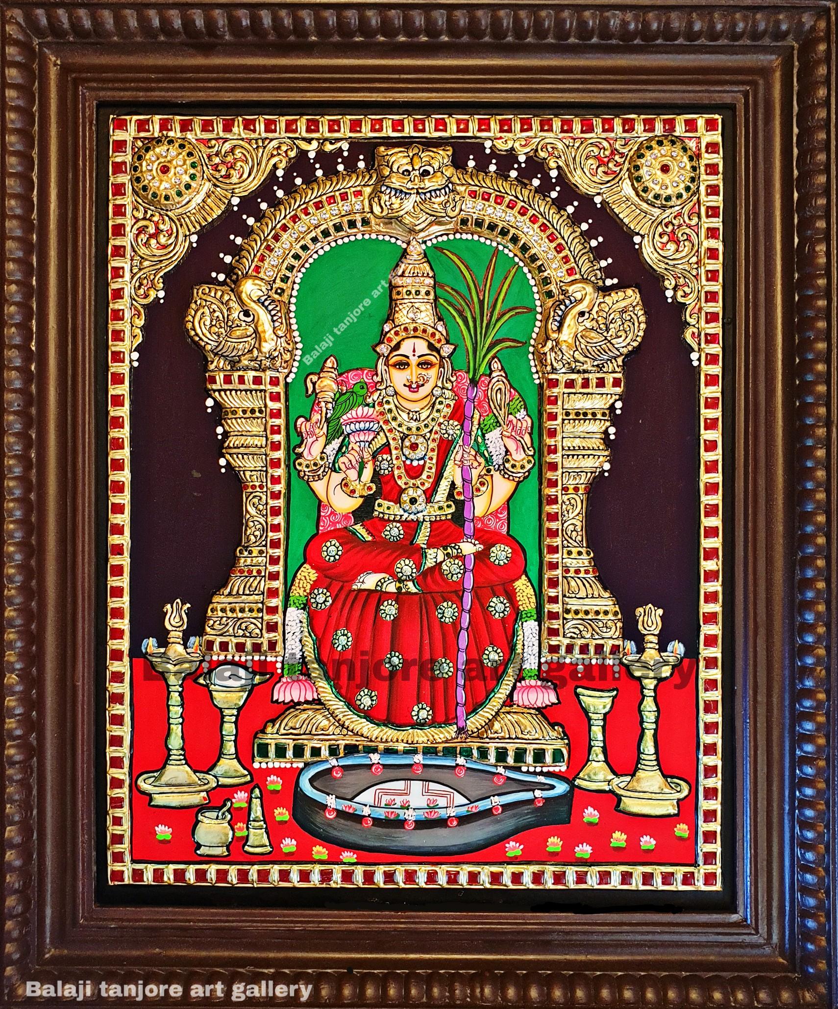 kamakshi amman semi embossing tanjore painting