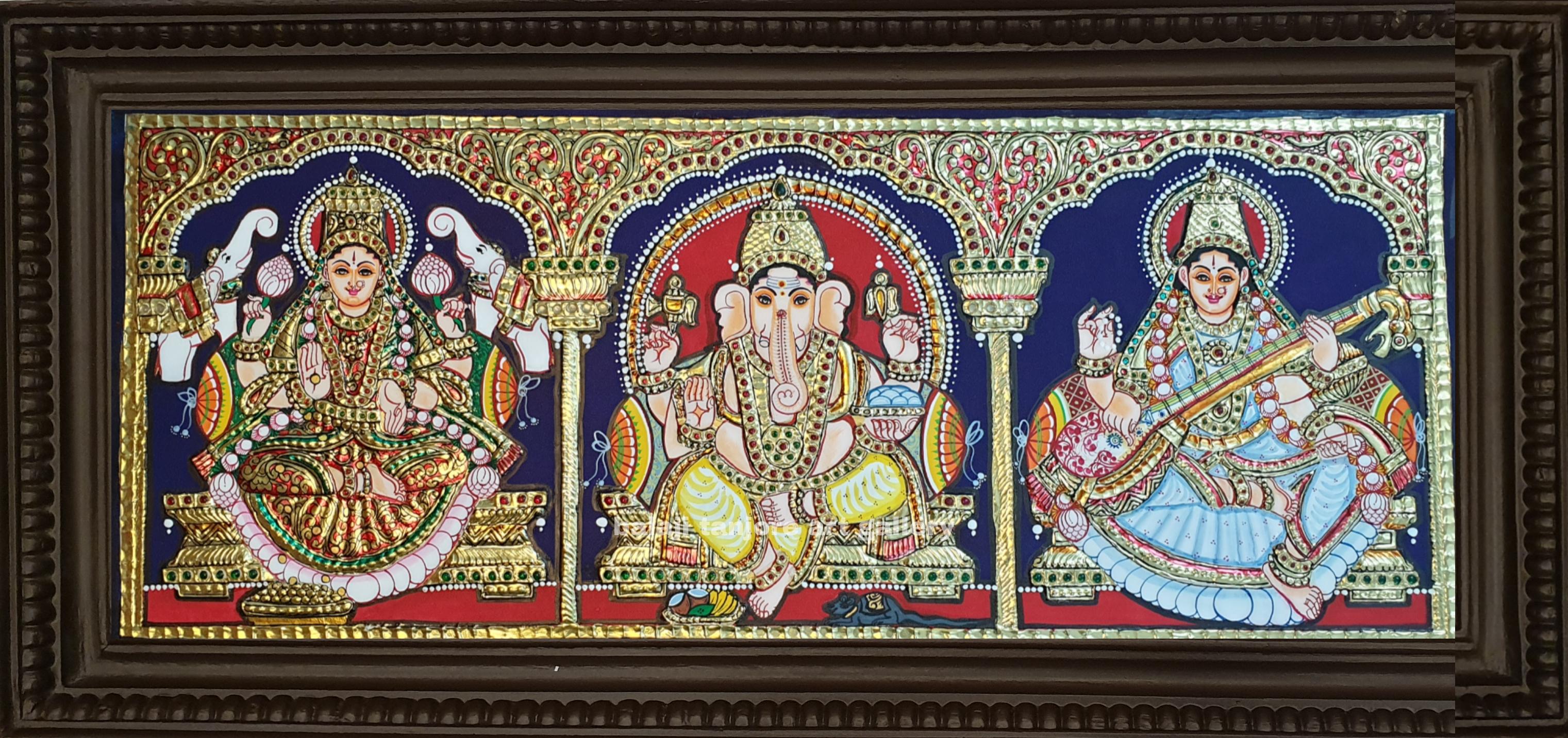 lotus saraswathi tanjore painting