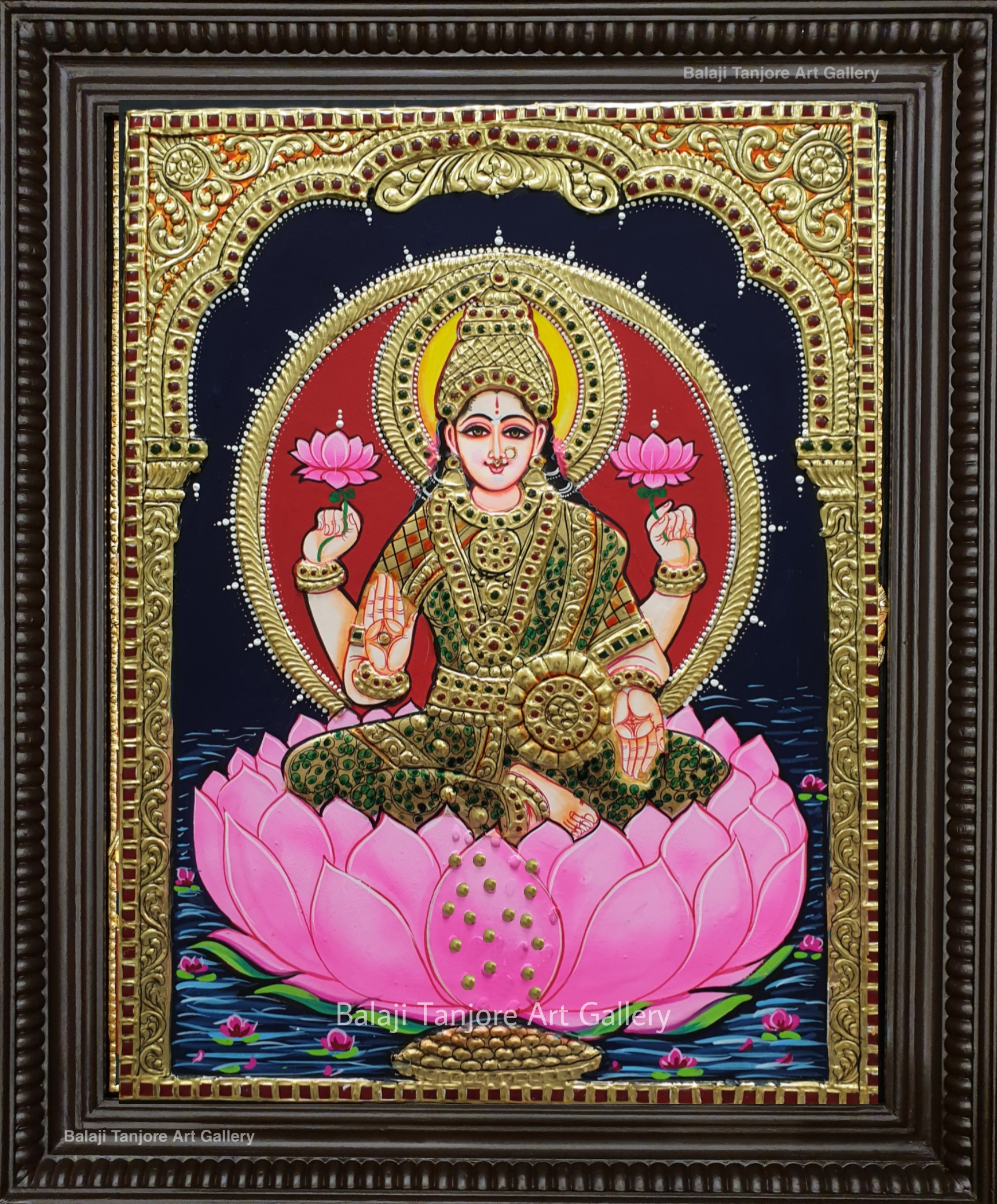 lotus mahalakshmi tanjore painting
