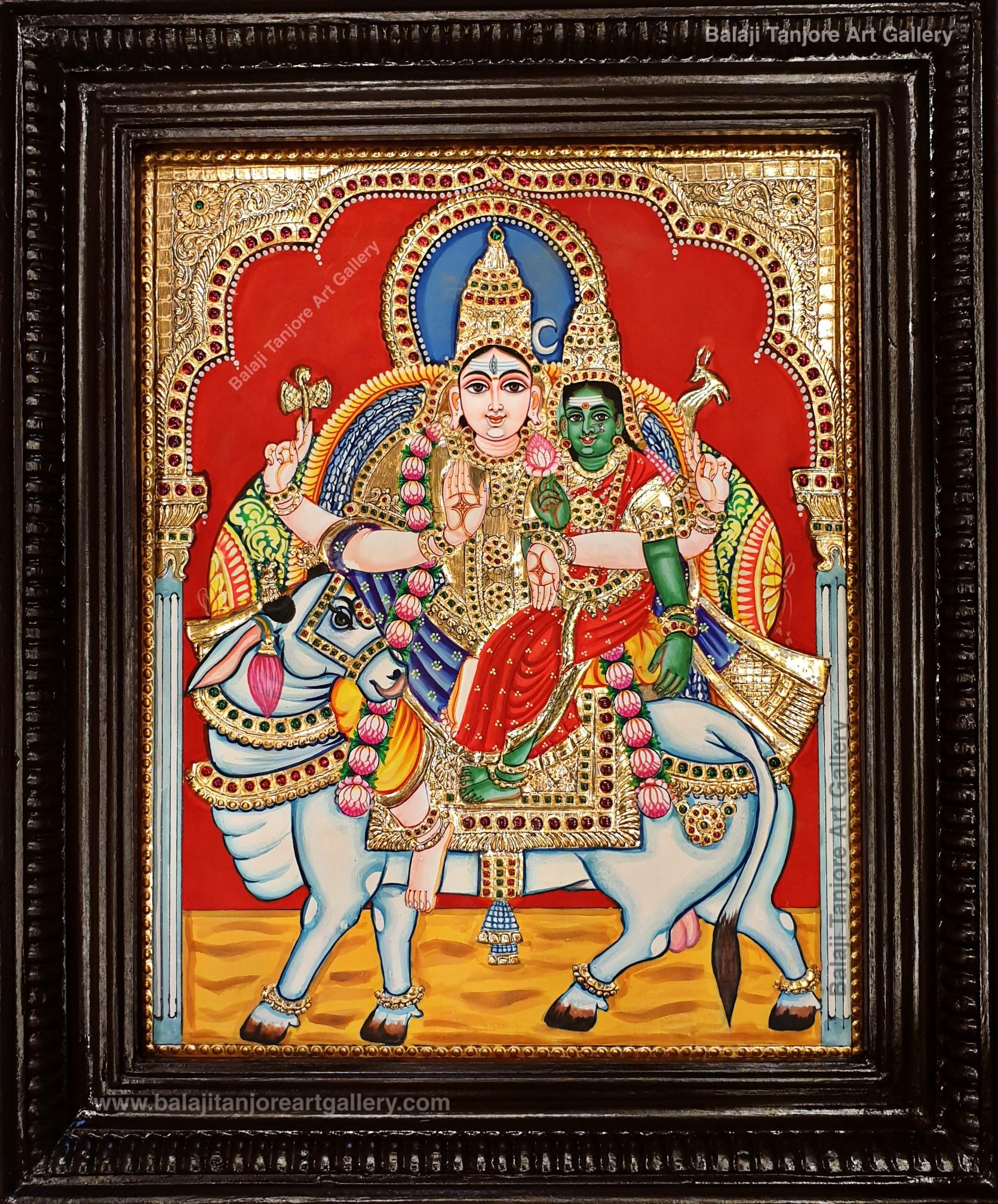 Shiva Parvati in Rishaba Vahanam Tanjore Painting