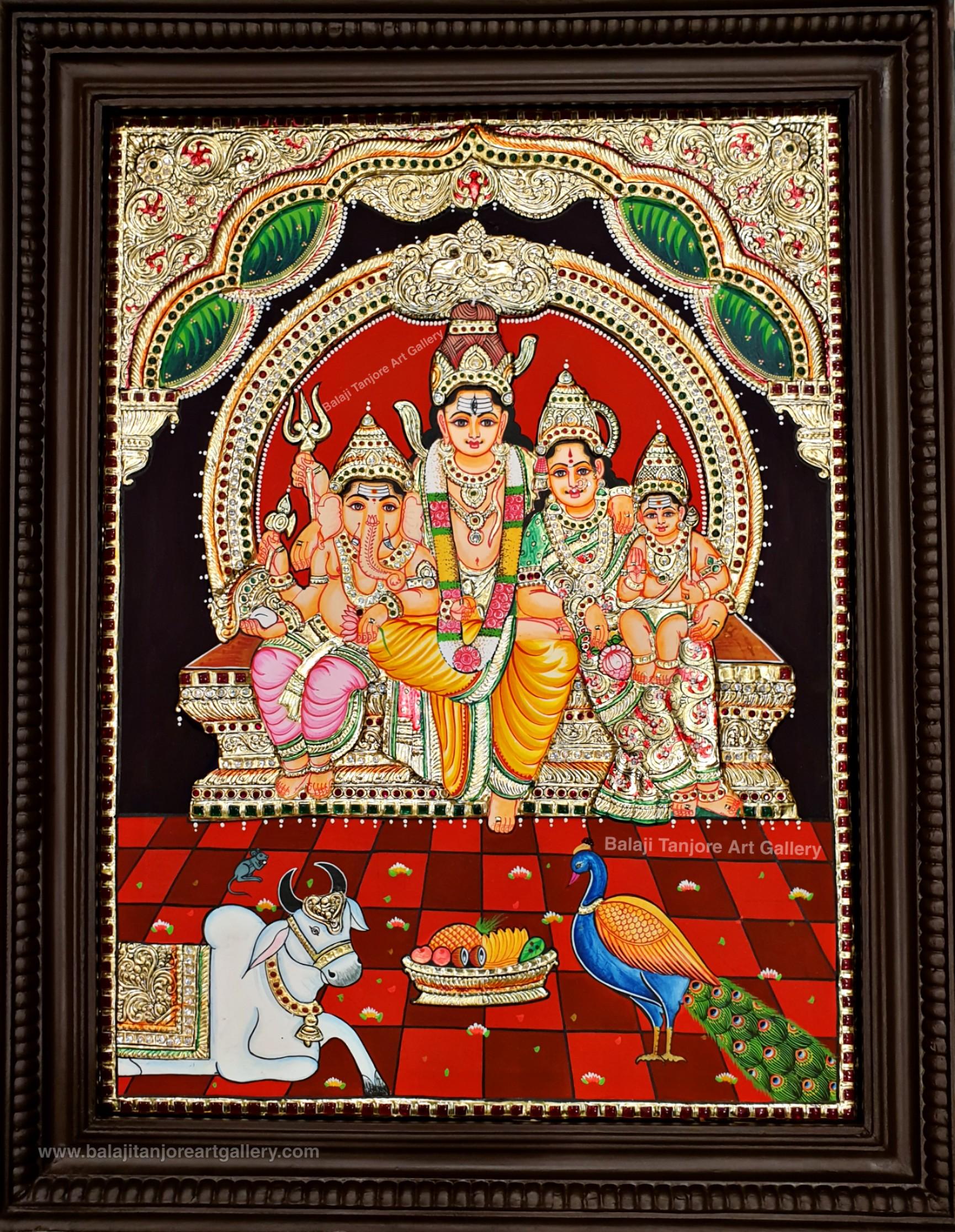 shivan family semi embossing tanjore painting
