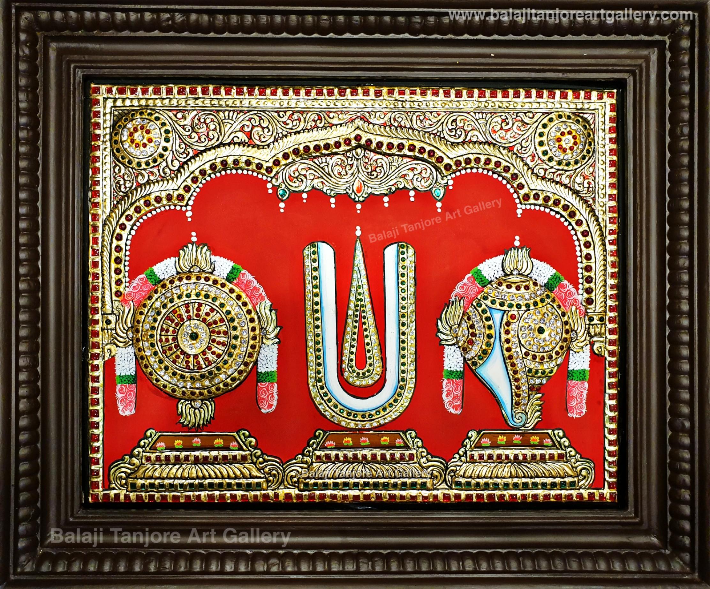 sangu chakram namam semi embossing tanjore painting