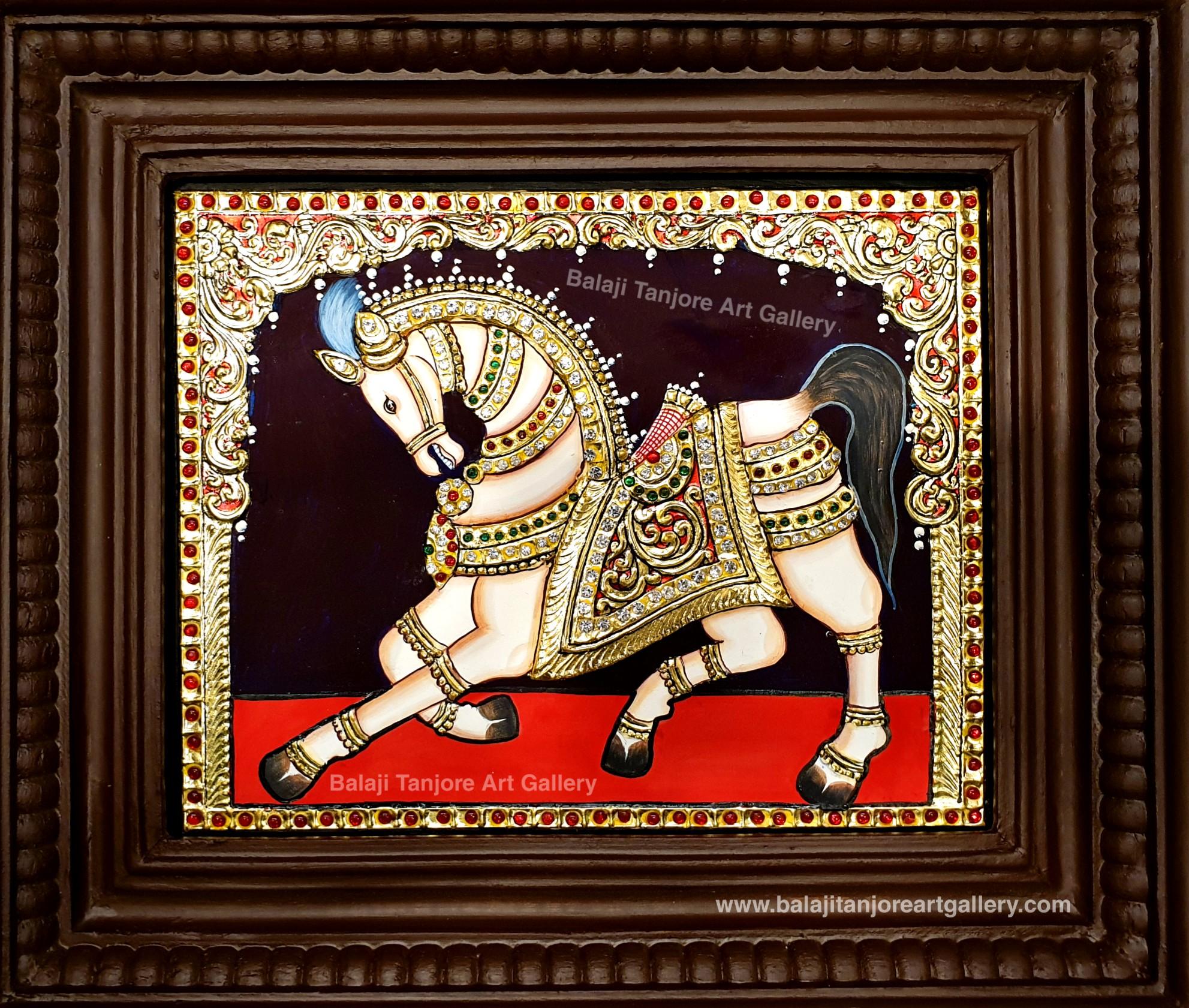 Vaasthu horse semi embossing Tanjore painting