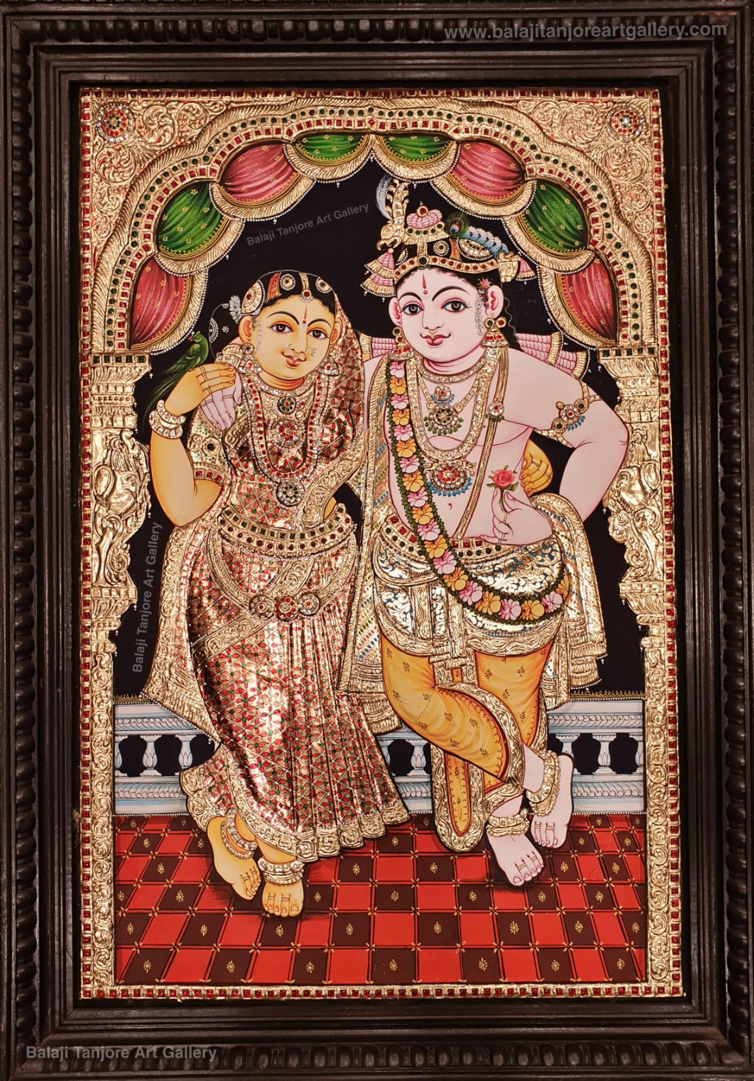 RadhaKrishna grand semi embossing Tanjore painting