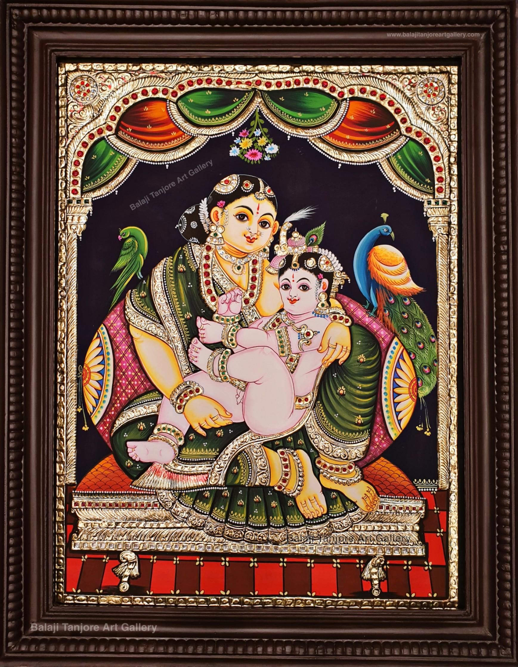 Yasodha krishna traditional Tanjore painting