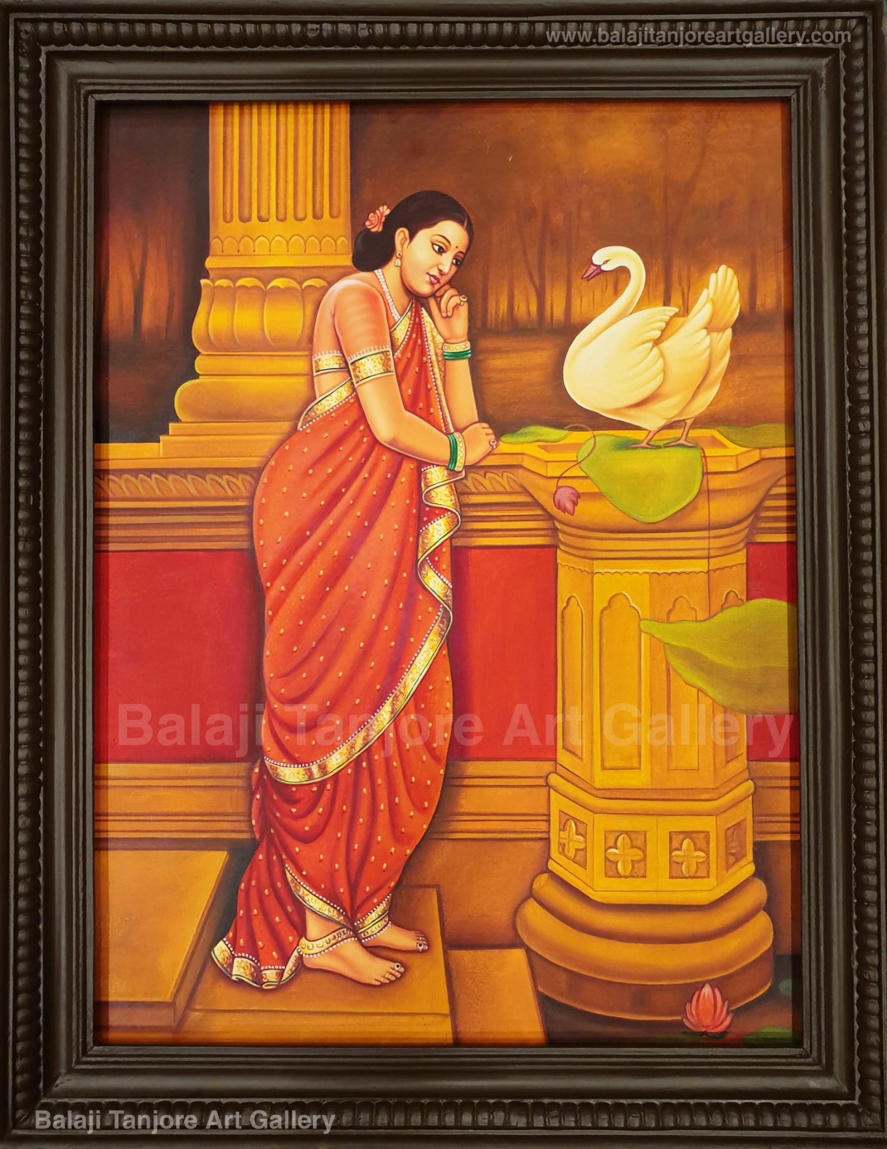 swan lady ravi varma hand drawn painting