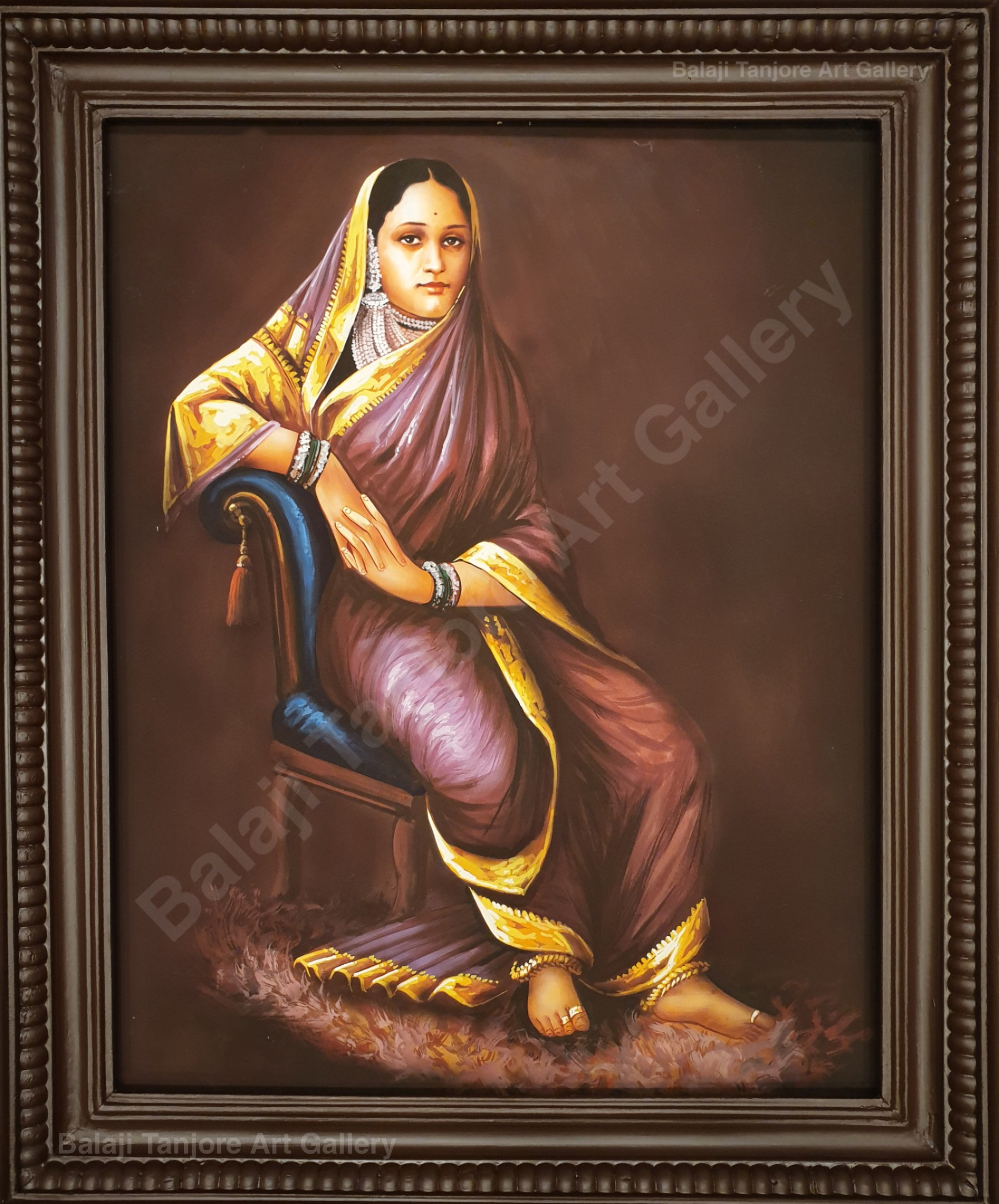 sitting lady ravi varma hand drawn painting