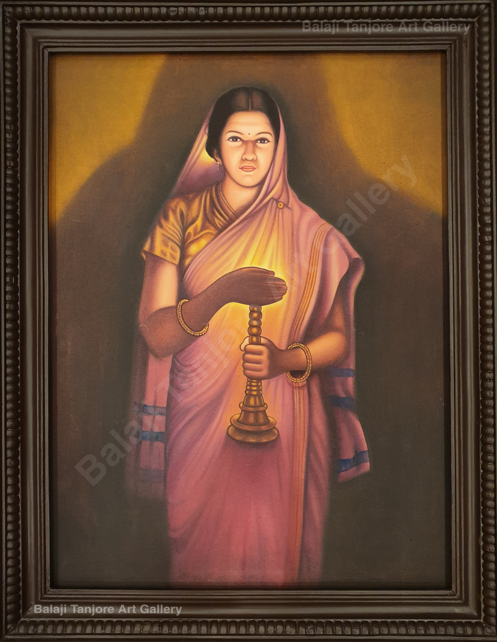 lady with a lamp ravi varma hand drawn painting