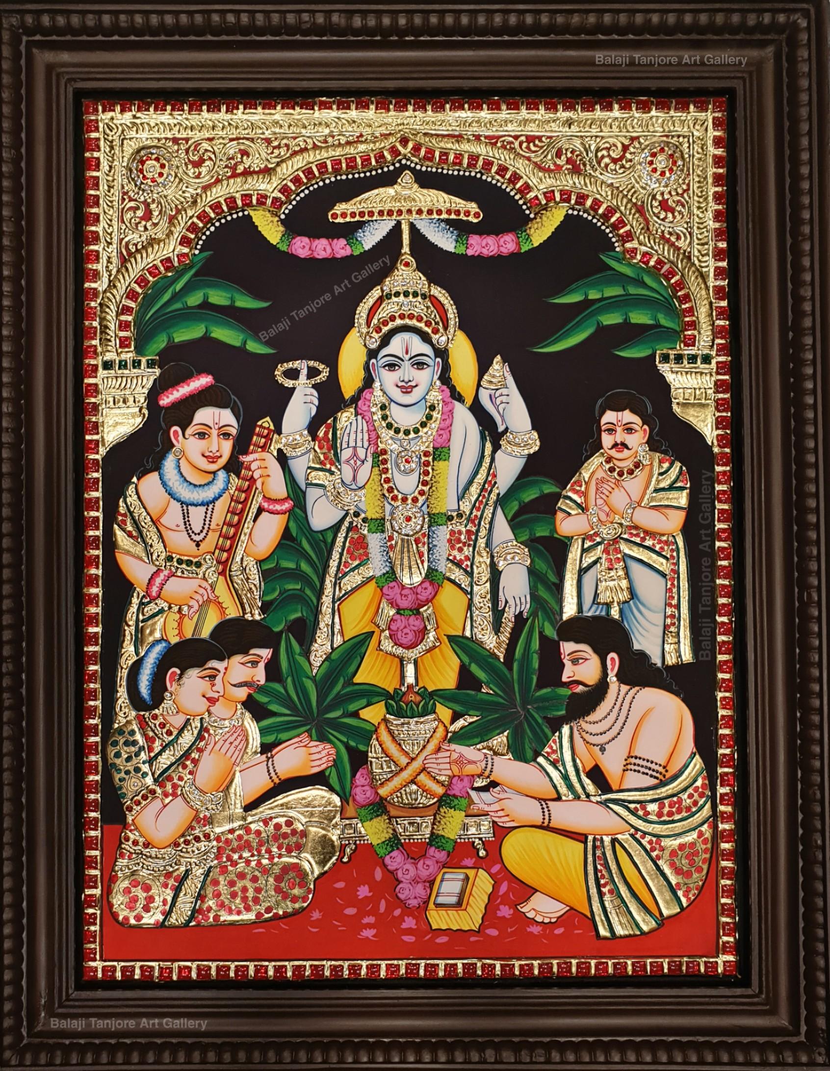 sathyanarayana semi embossing tanjore painting