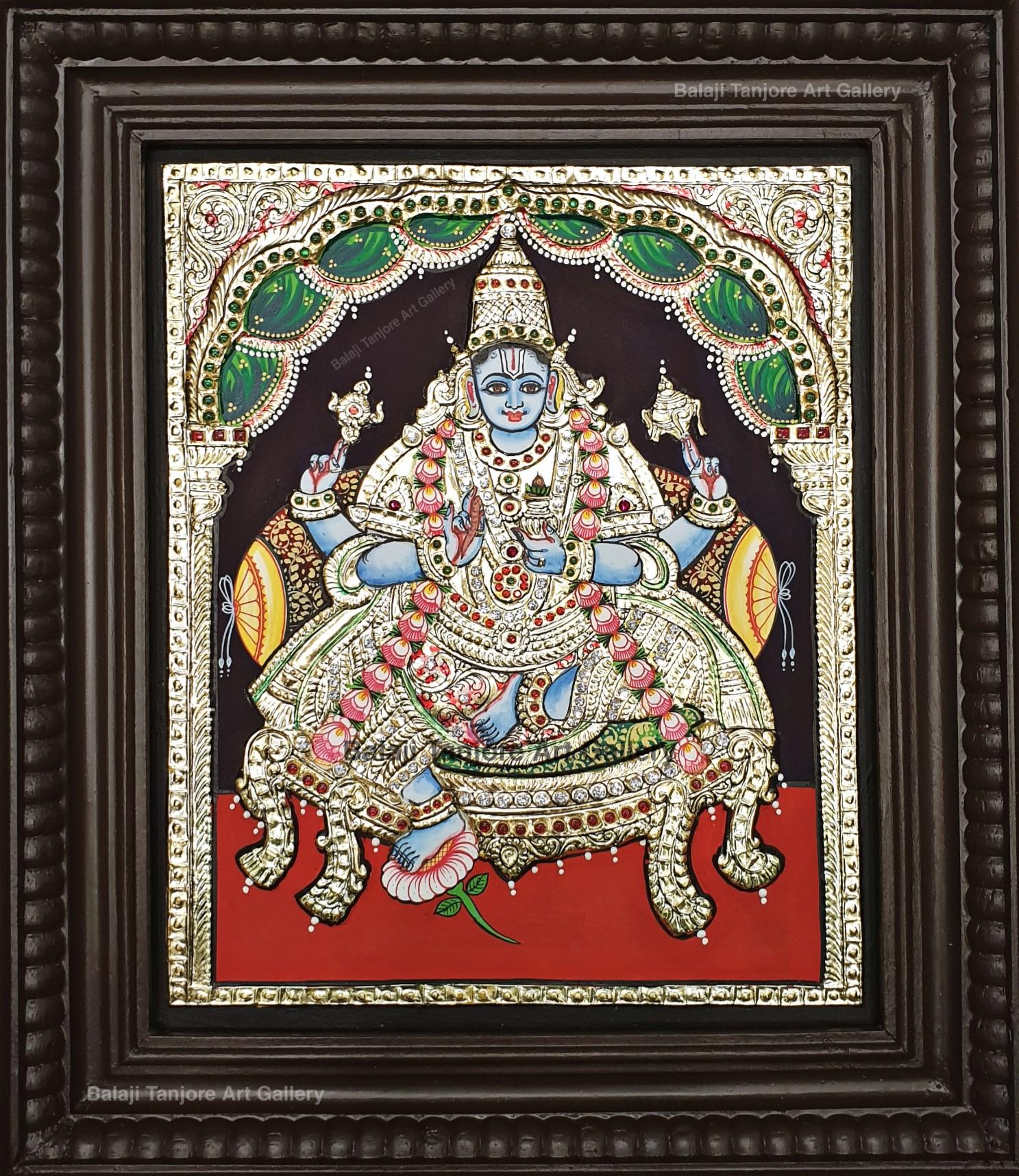 dhanvantari semi embossing tanjore painting