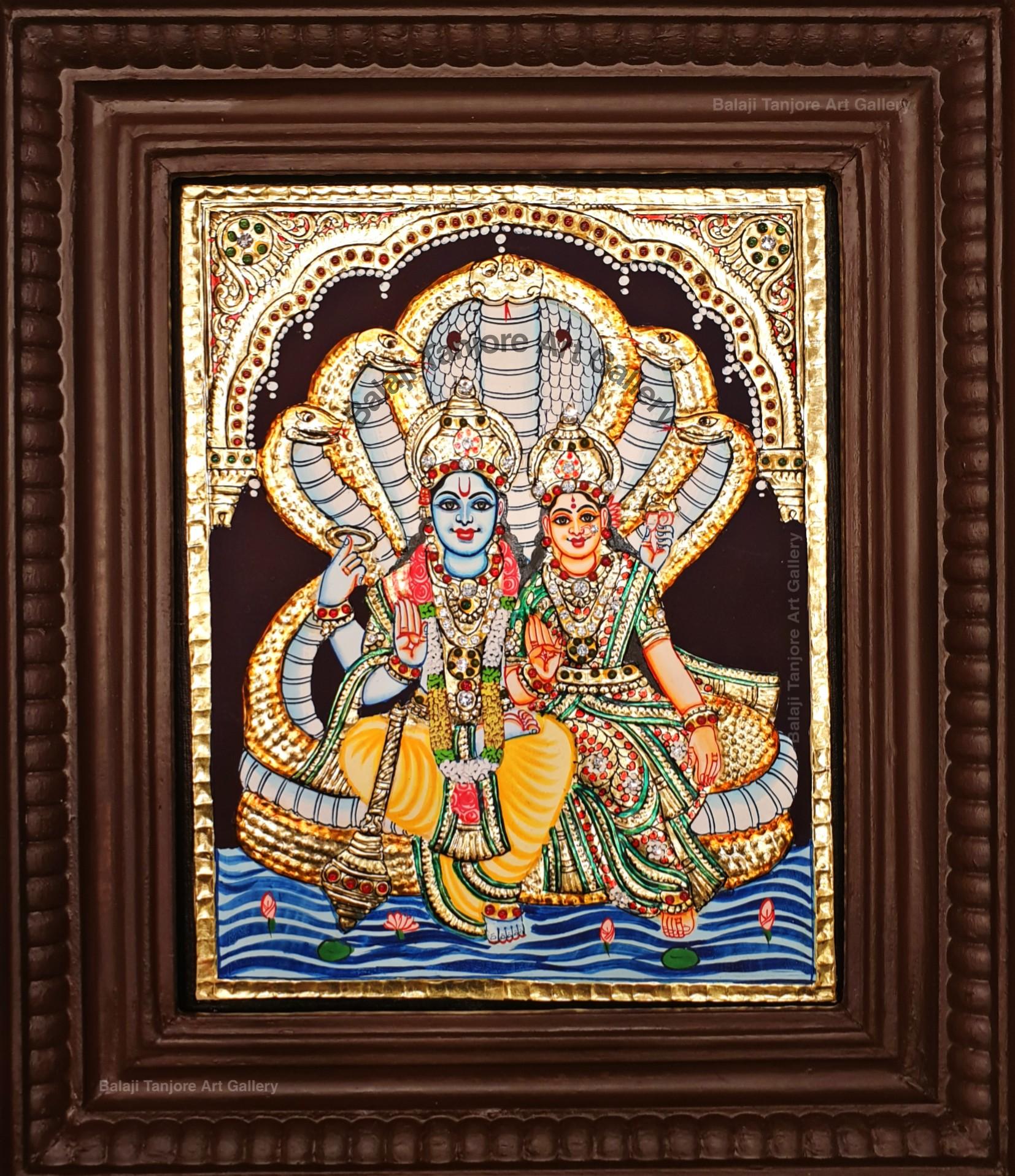 lakshmi narayanar semi embossing tanjore painting