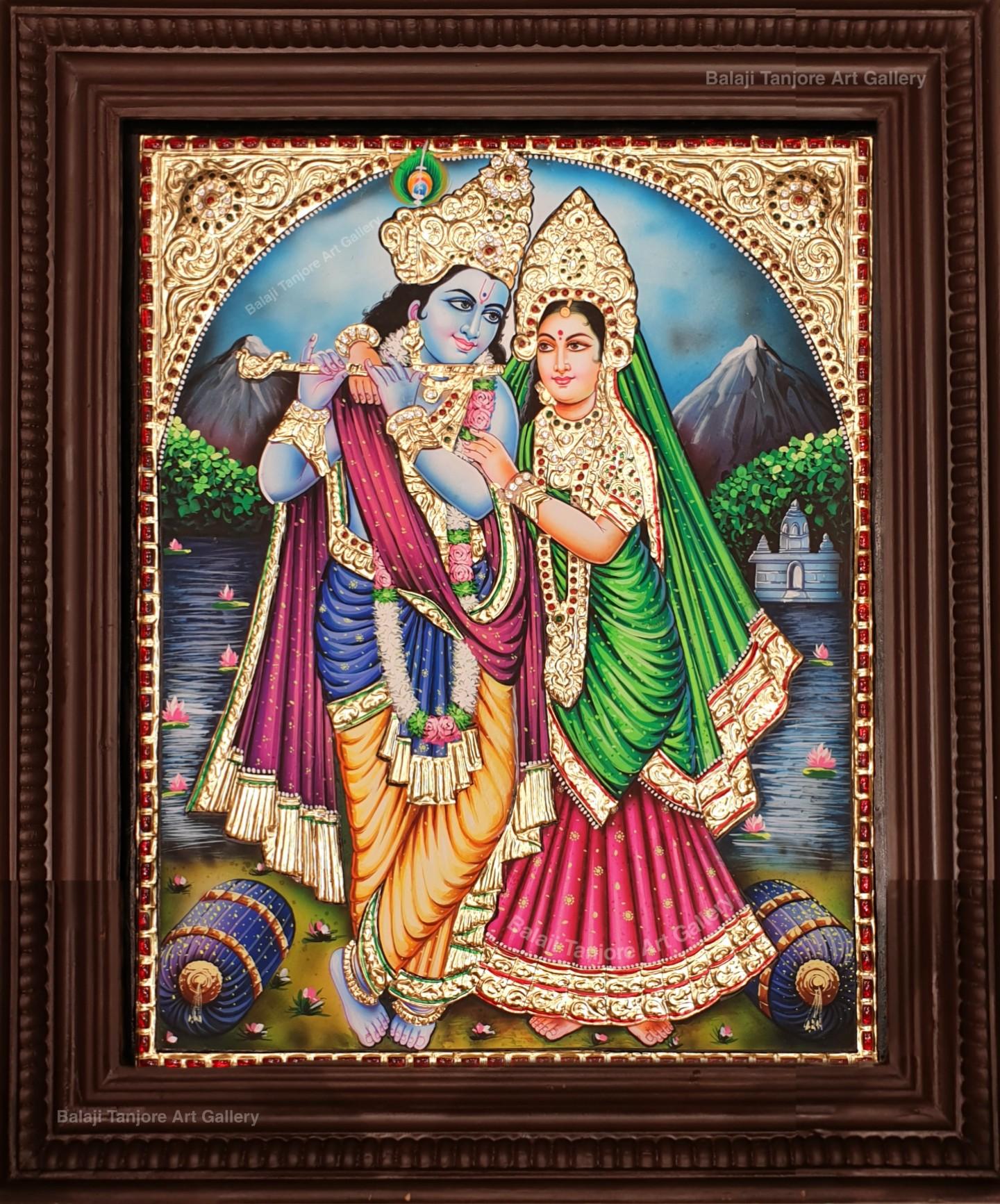 flute radha krishna tanjore painting