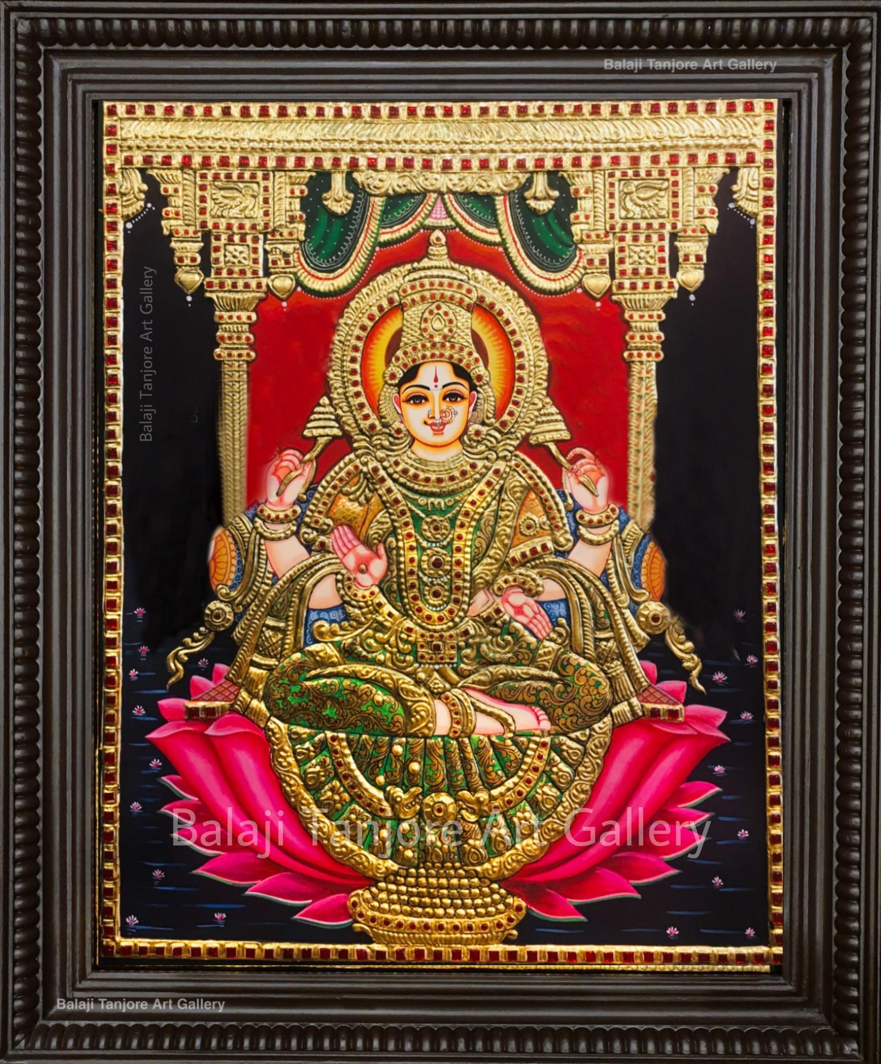 lotus gaja lakshmi tanjore painting