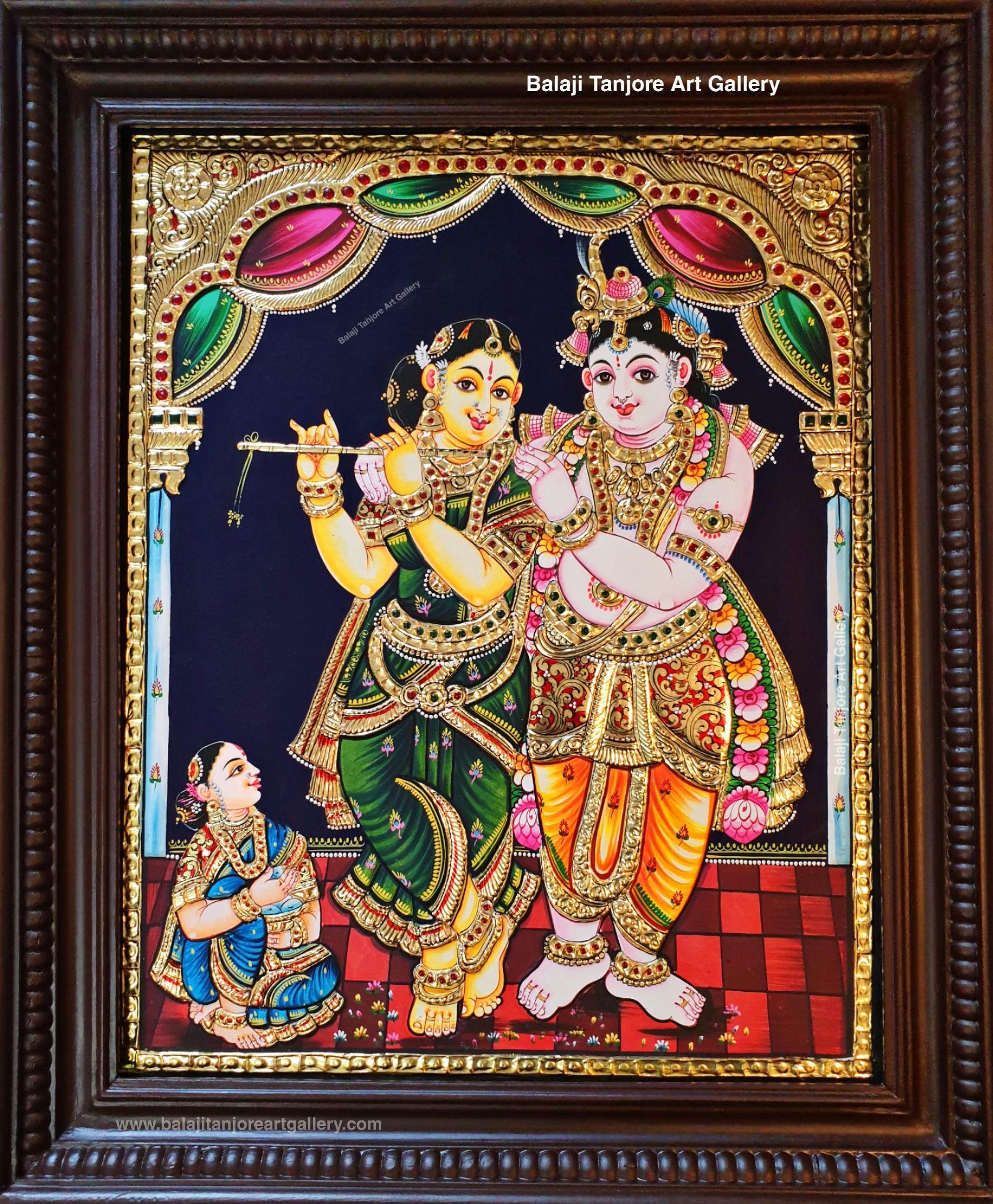 radha krishna semi embossing tanjore painting