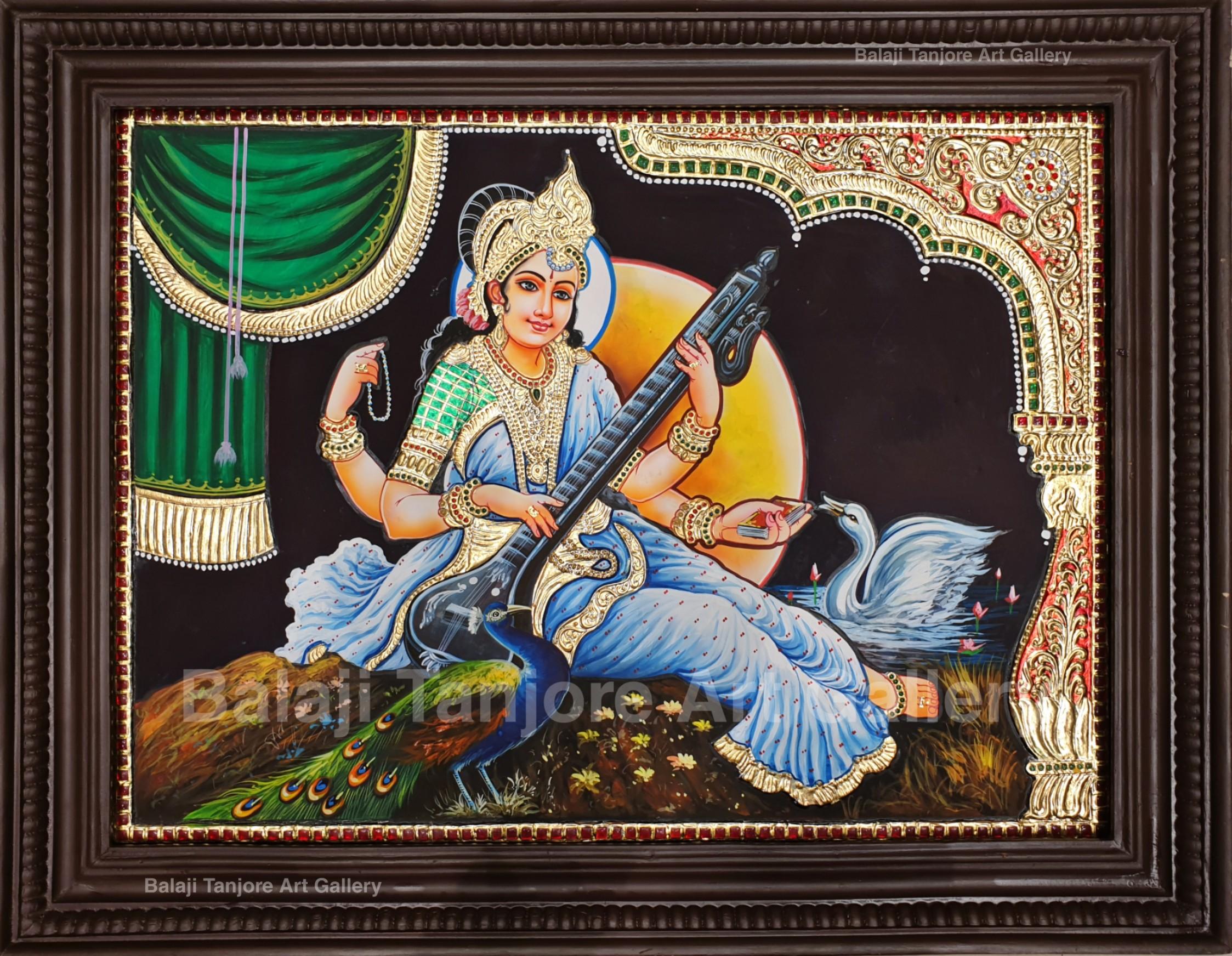 saraswathi panal tanjore painting