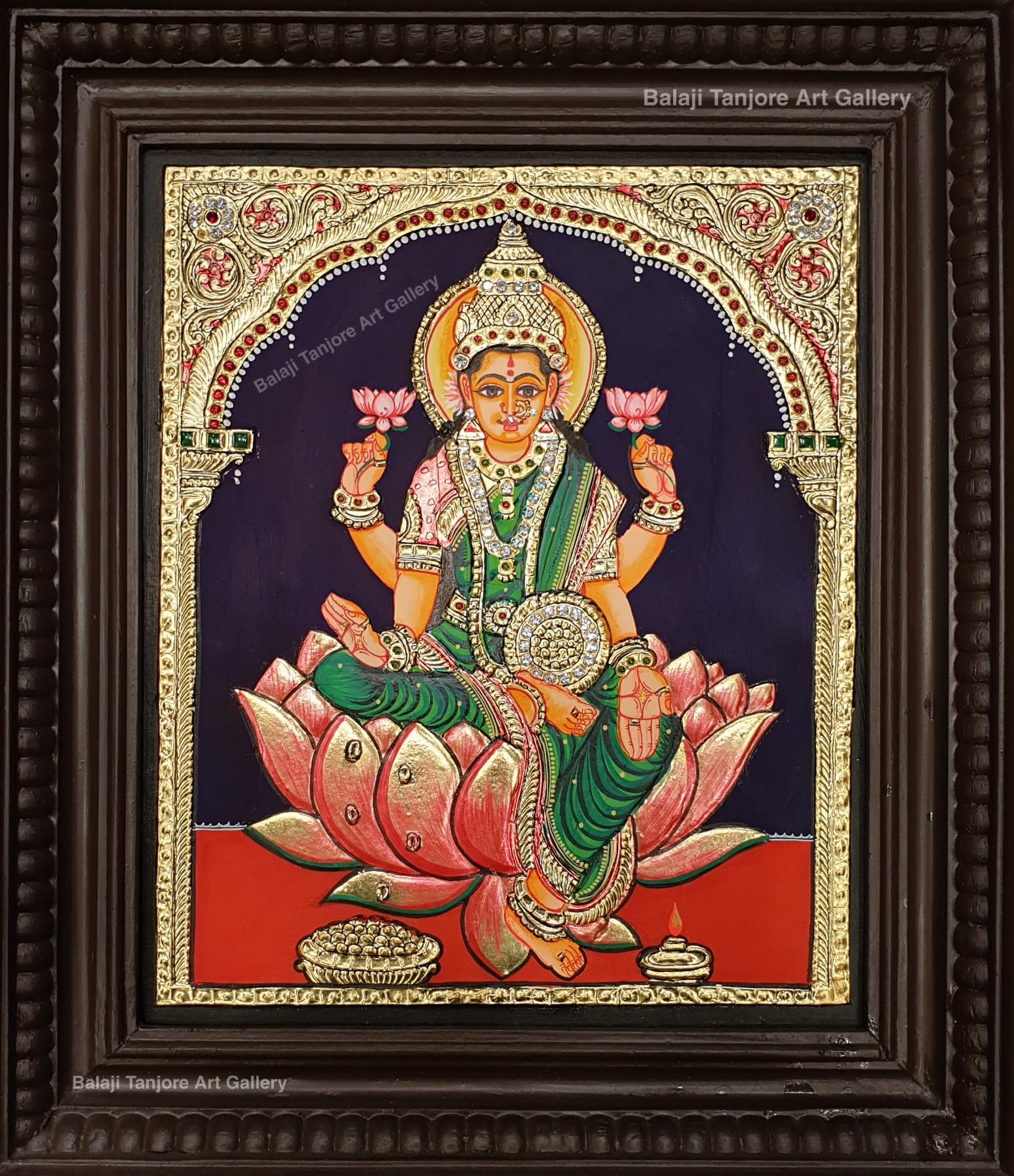 lotus lakshmi tanjore painting