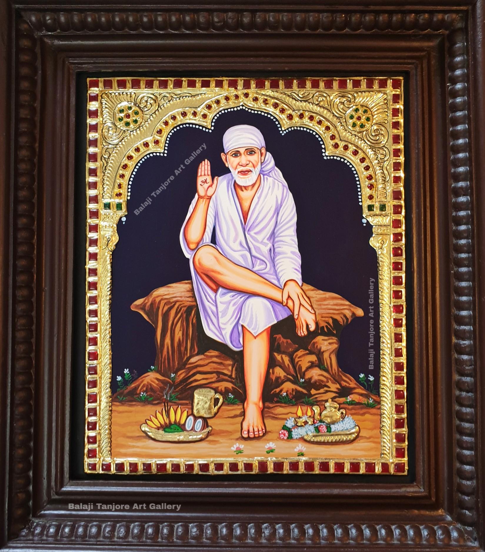 sitting sai baba tanjore painting