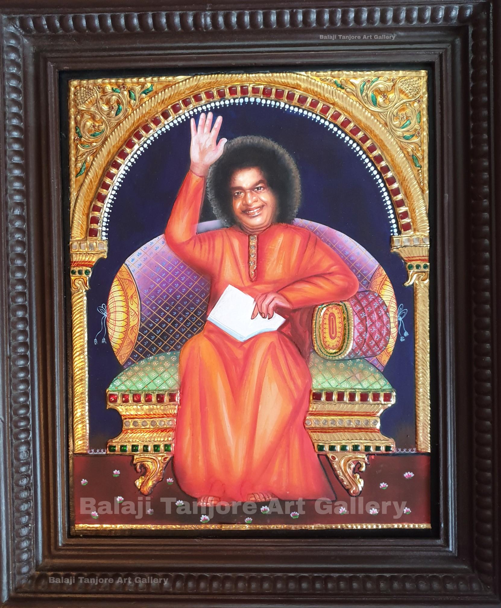 Puttaparthi sai baba tanjore painting