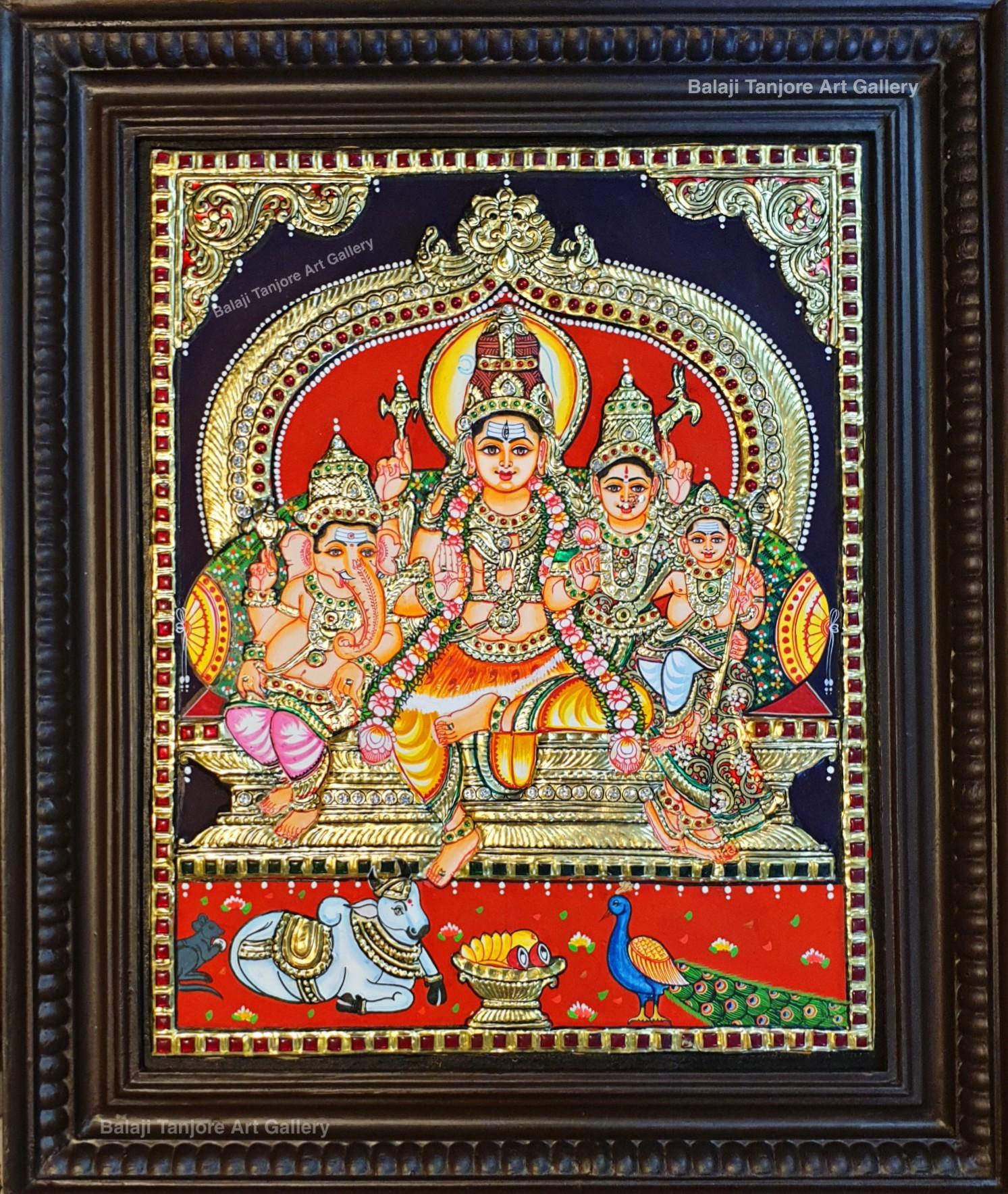shiva family semi embossing tanjore painting