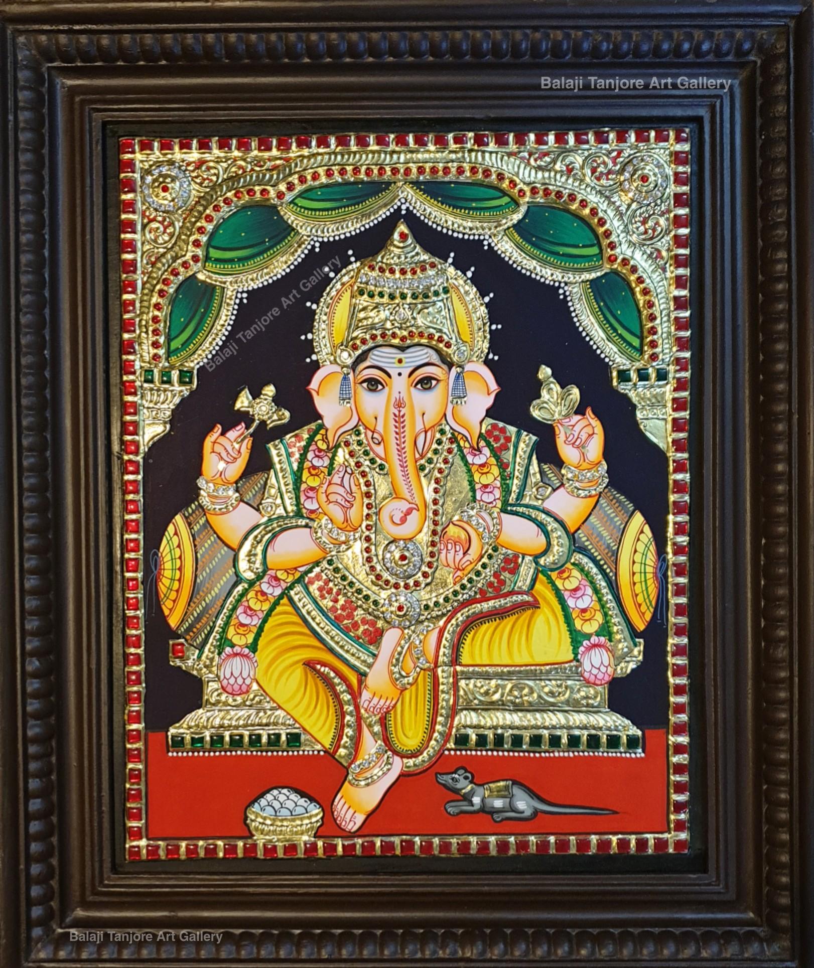 Ganesha semi embossing tanjore painting