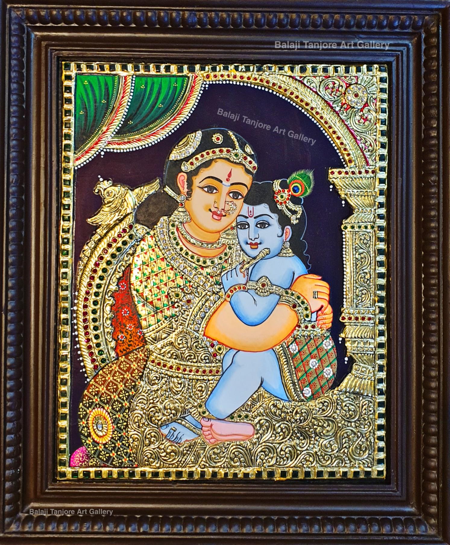 yasodha krishna gold tanjore painting