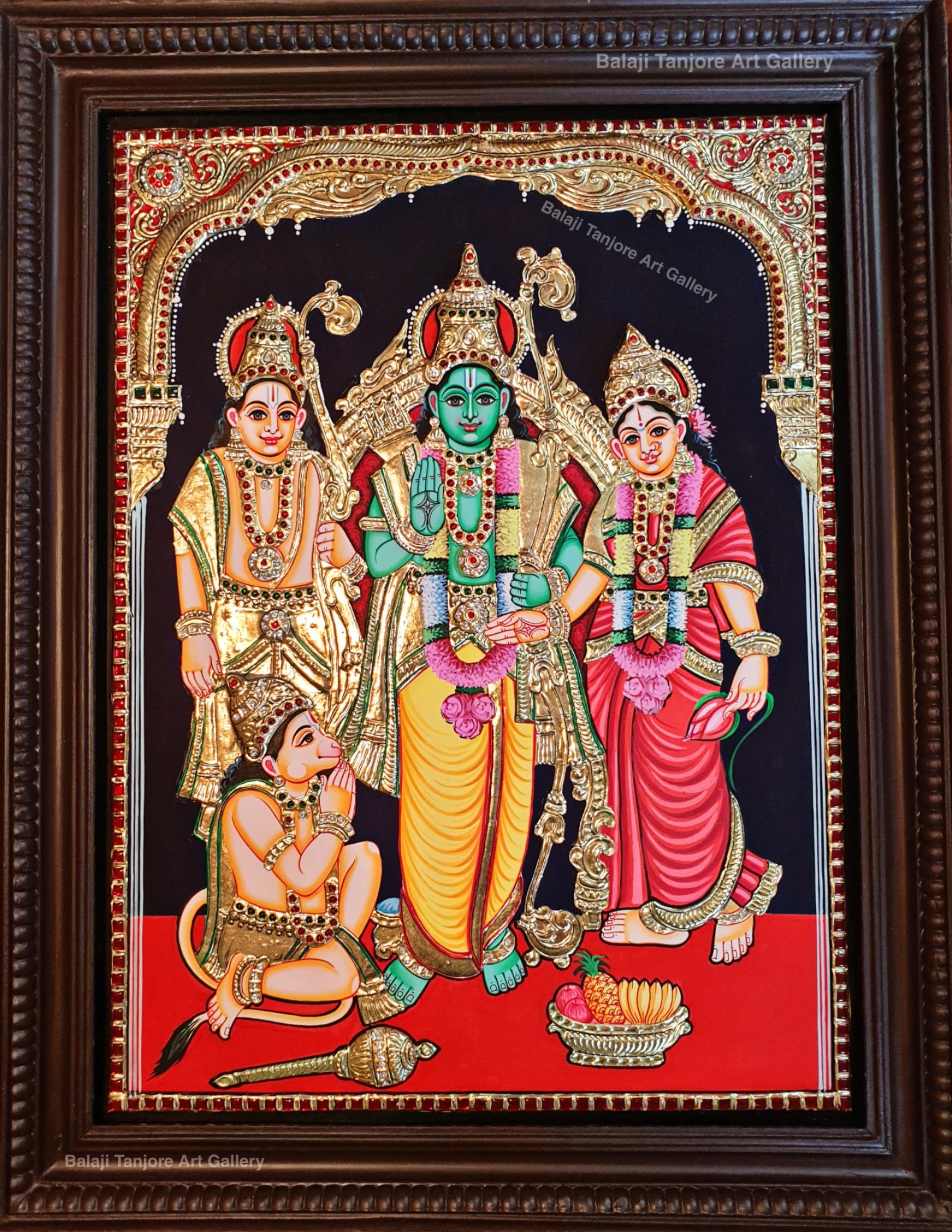 kothandaramar semi embossing tanjore painting