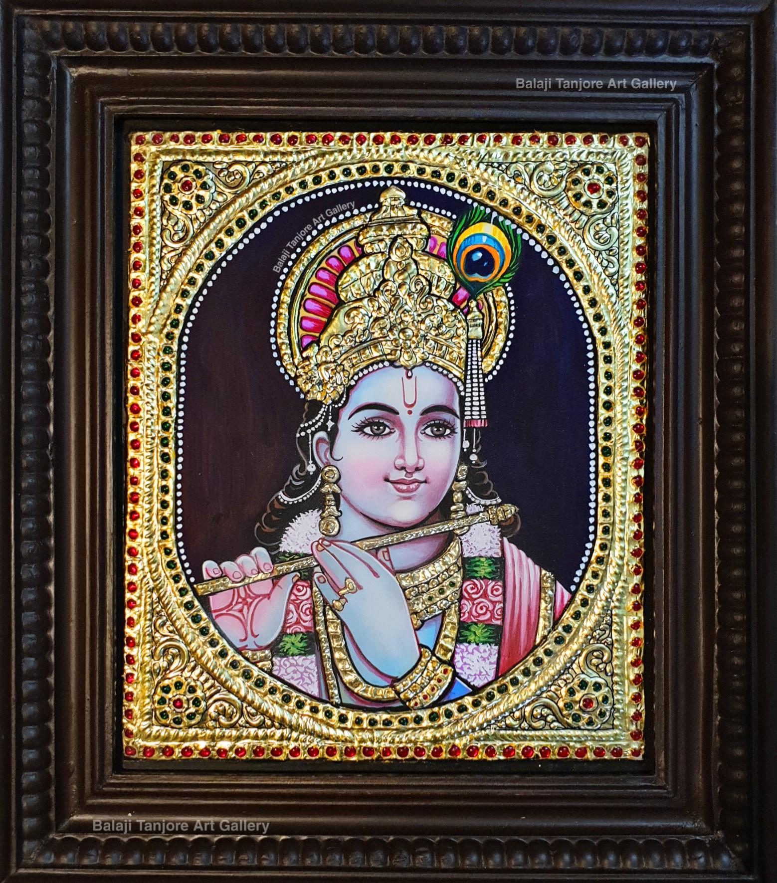 face krishna tanjore painting