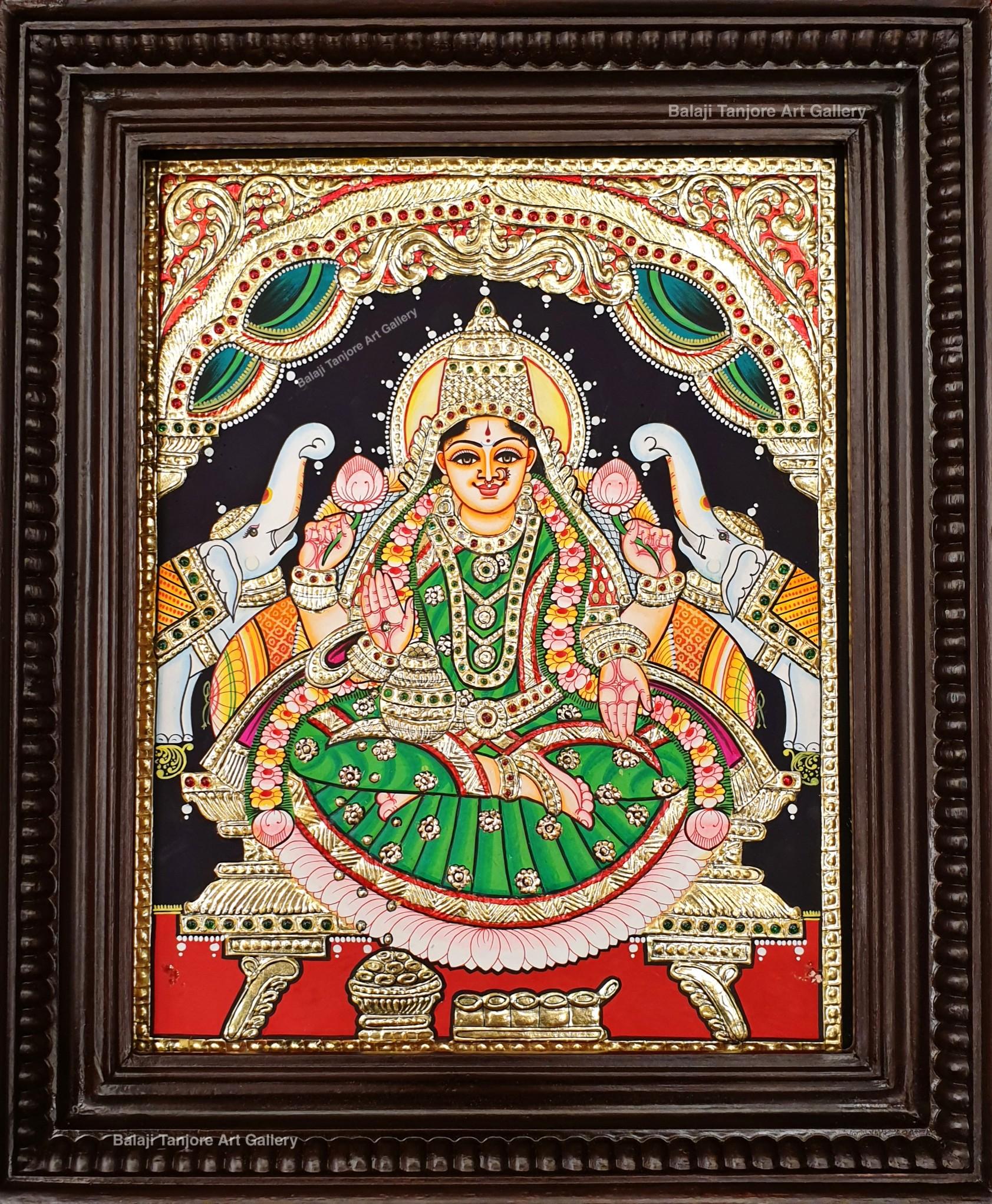 gaja lakshmi semi embossing tanjore painting