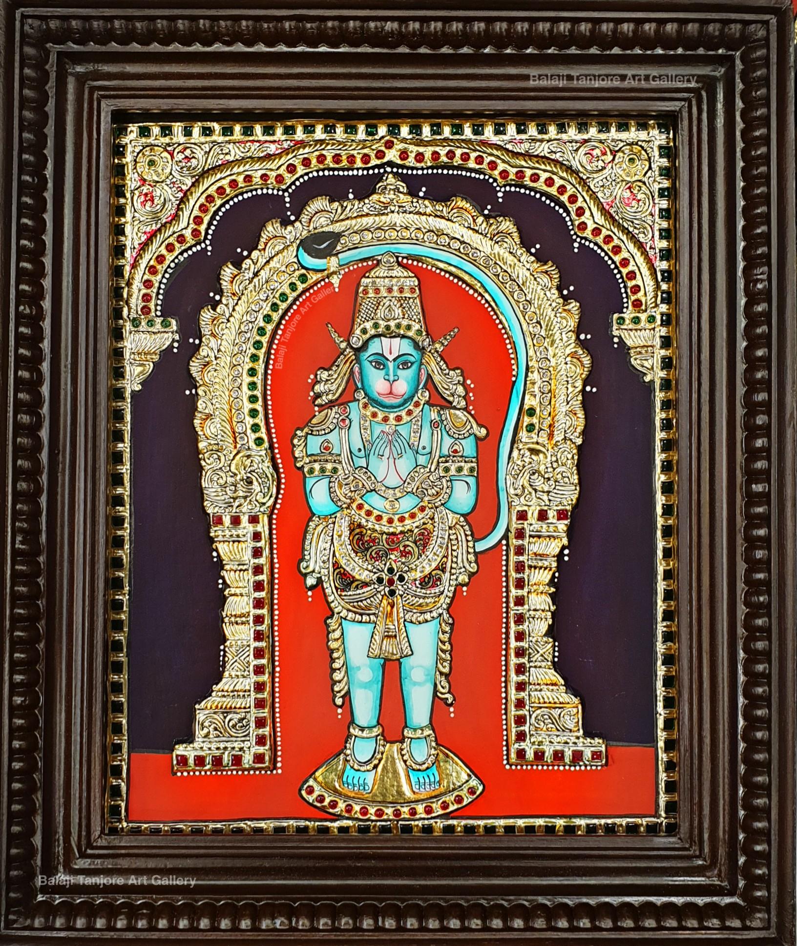 panchamuga anjaneyar tanjore painting